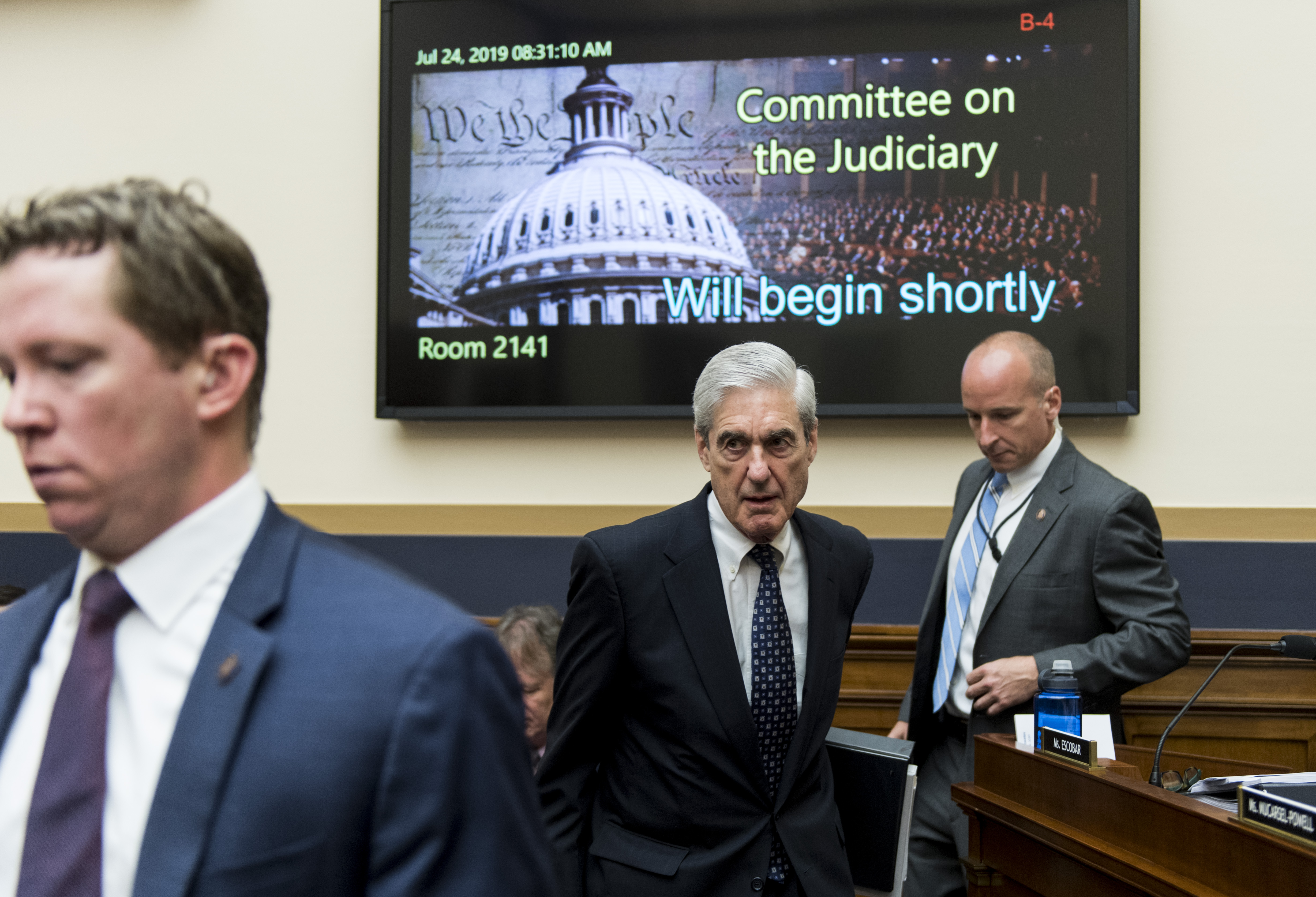 "UNITED STATES - JULY 24: Former Special Counsel Robert Mueller arrives to testify during the House Judiciary Committee hearing on ""Oversight of the Report on the Investigation into Russian Interference in the 2016 Presidential Election"" on Wednesday, July 24, 2019. (Photo By Bill Clark/CQ Roll Call)"