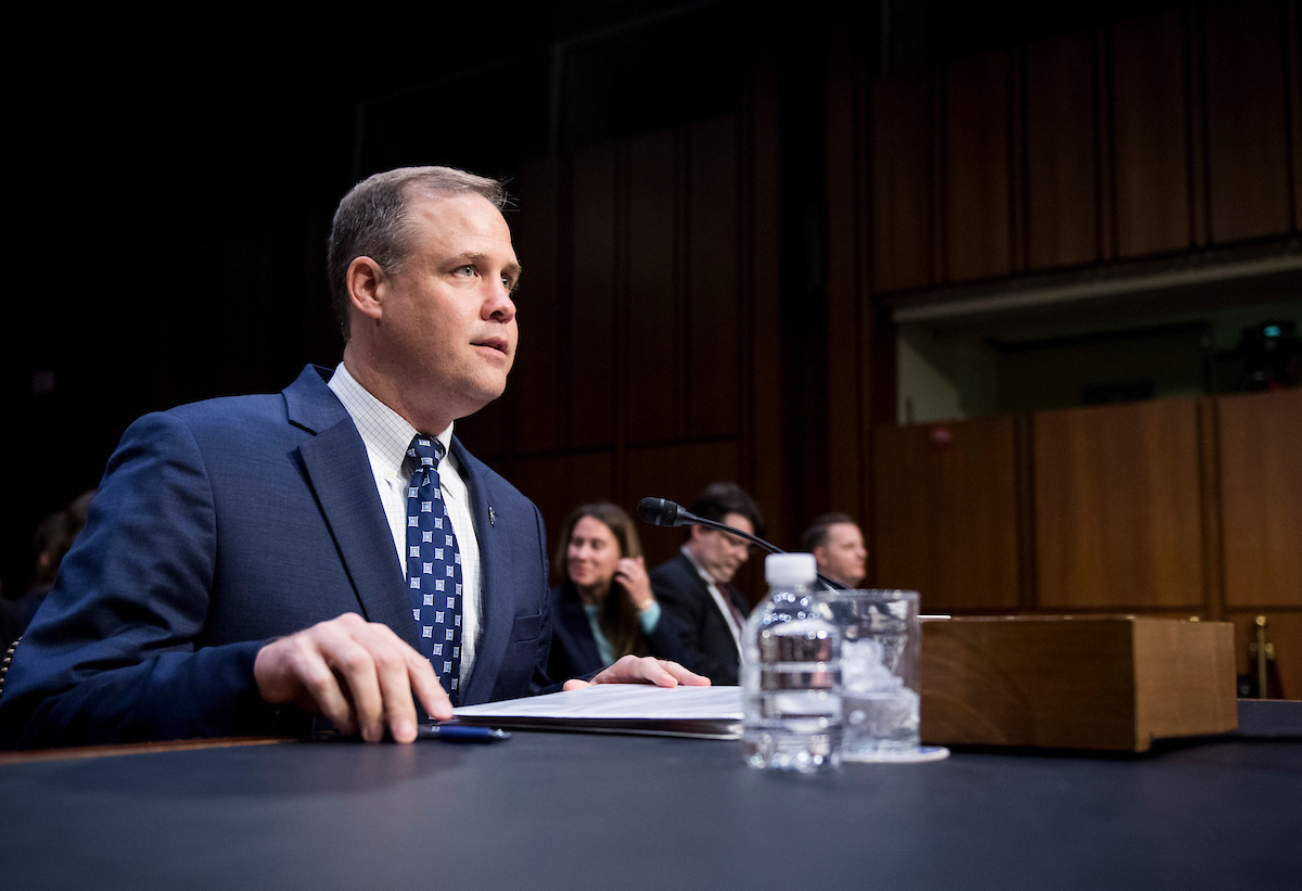"UNITED STATES - JULY 17: NASA Administrator James Bridenstine prepares to testify during the Senate Commerce, Science and Transportation Committee hearing on ""Moon to Mars: NASA's Plans for Deep Space Exploration"" on Wednesday, July 17, 2019. (Photo By Bill Clark/CQ Roll Call)"