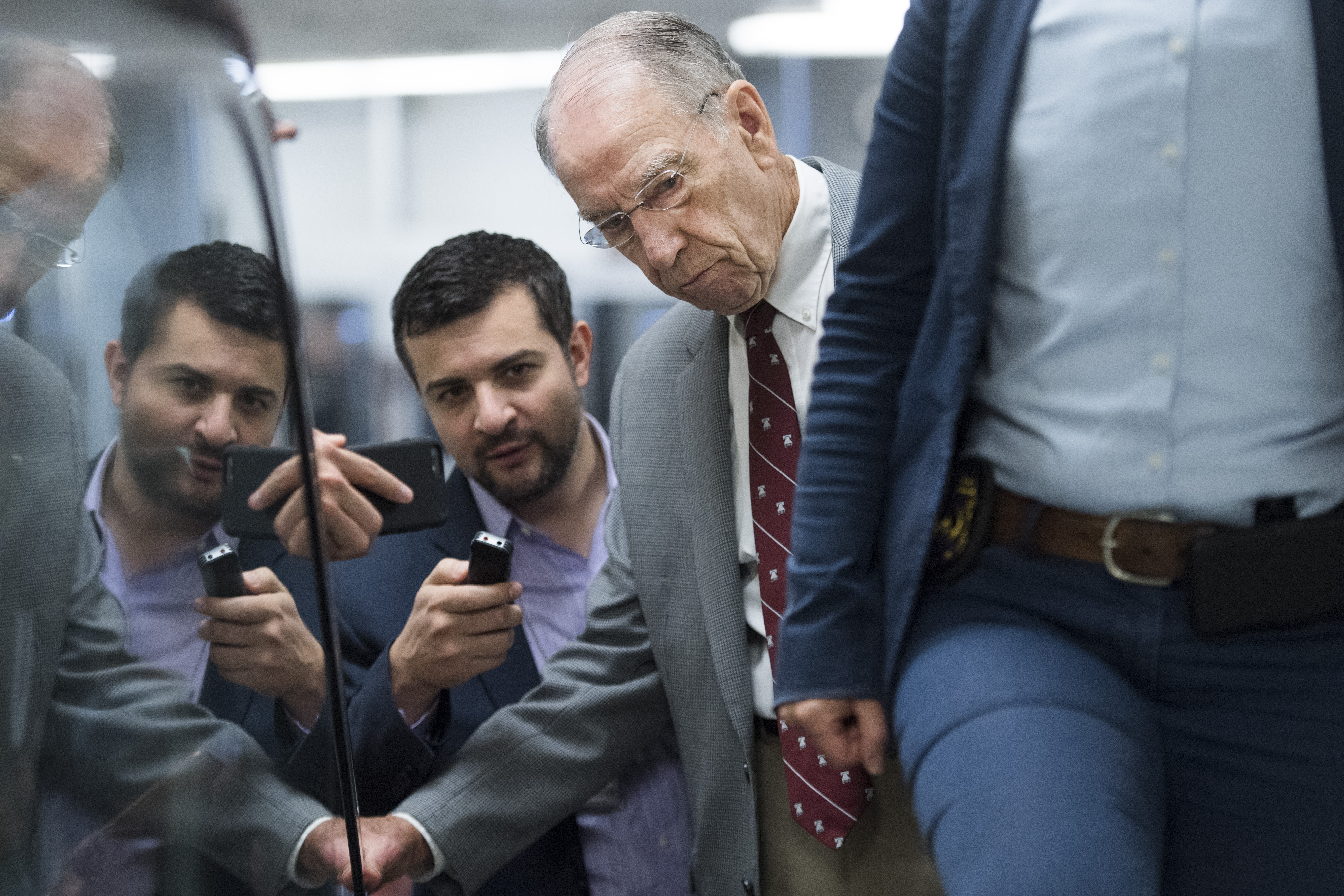 UNITED STATES - JULY 23: Sen. Charles Grassley, R-Iowa, talks with reporters before the Senate Policy luncheons in the Capitol on Tuesday, July 23, 2019. (Photo By Tom Williams/CQ Roll Call)
