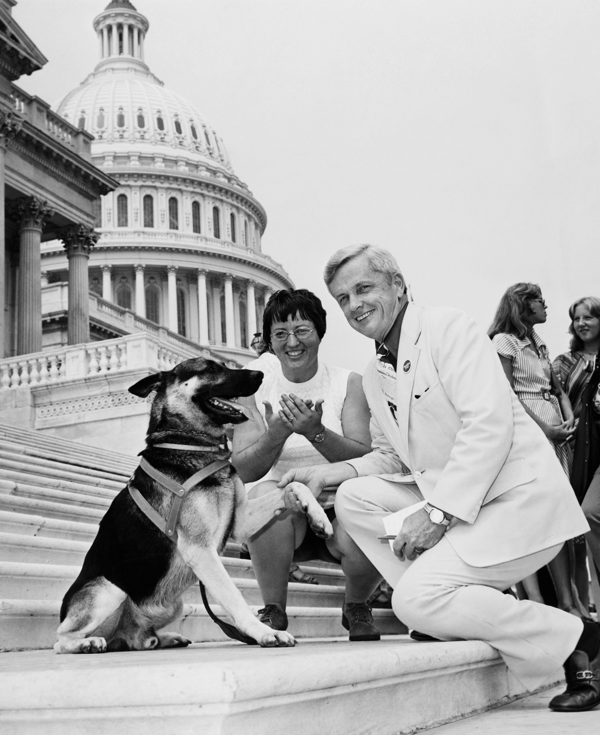 "Rep. Paul Findley, R-Ill. skakes paws with ""Fritz"" a hearing ear dog. Deanne Witte (deaf) teaches at the Illinois Deaf College. She is here to help out at Galaudet College for Deaf. Fritz understands deaf sign language. (1976 Photo by Mickey Senko/CQ Roll Call)"