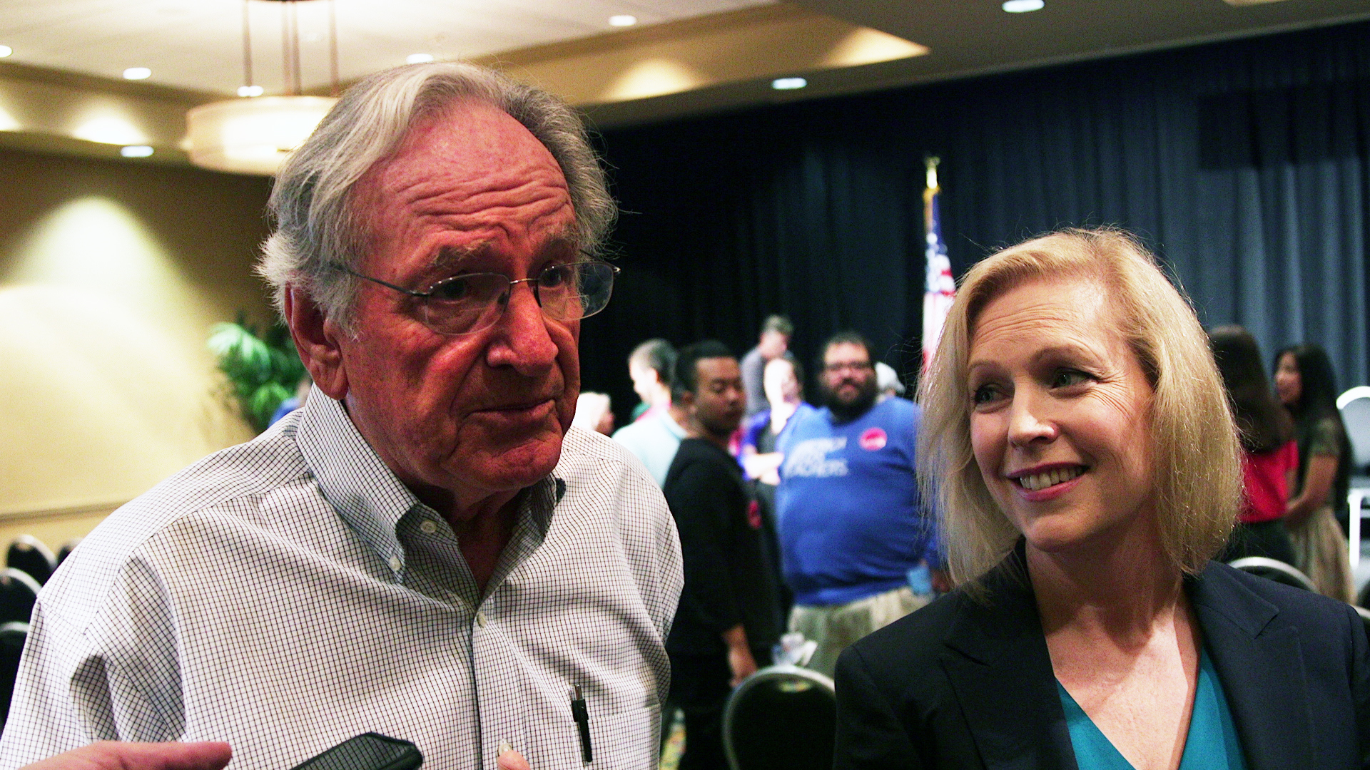 UNITED STATES - AUGUST 11: Former Sen. Tom Harkin and Sen. Kirsten Gillibrand speak to reporters at a community conversation to discuss disability rights at the Holiday Inn in West Des Moines on August 11, 2019 (Photo by Thomas McKinless/CQ Roll Call).