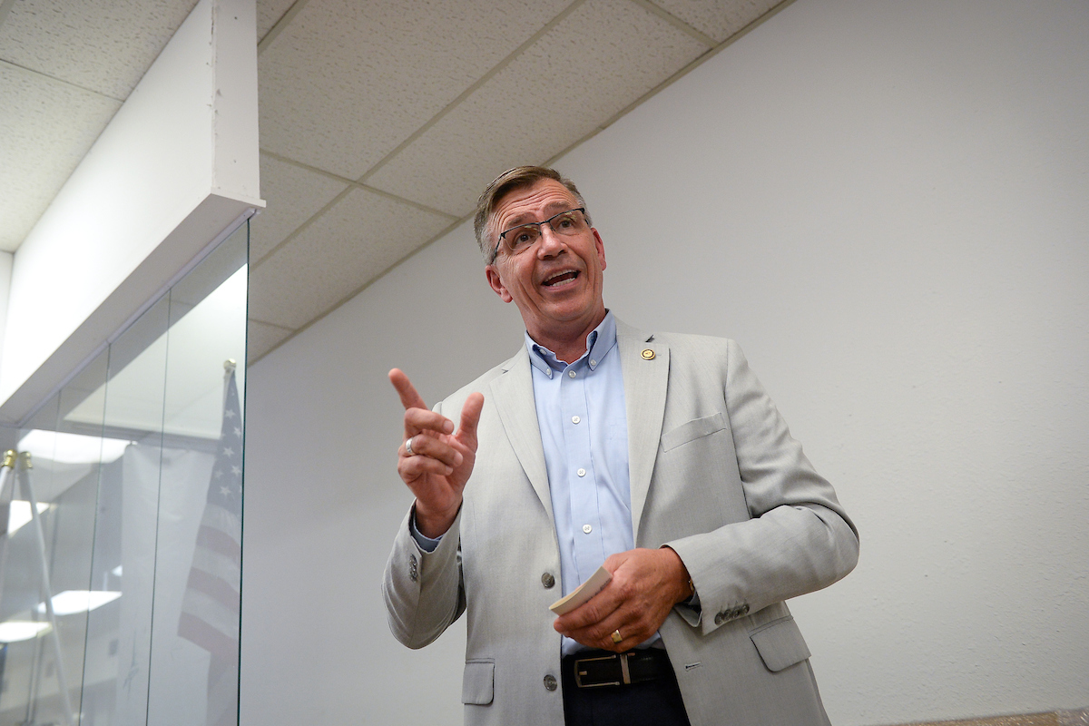 Former Illinois GOP Rep. Bobby Schilling speaks at the monthly Muscatine Republican meeting.(Caroline Brehman/CQ Roll Call)
