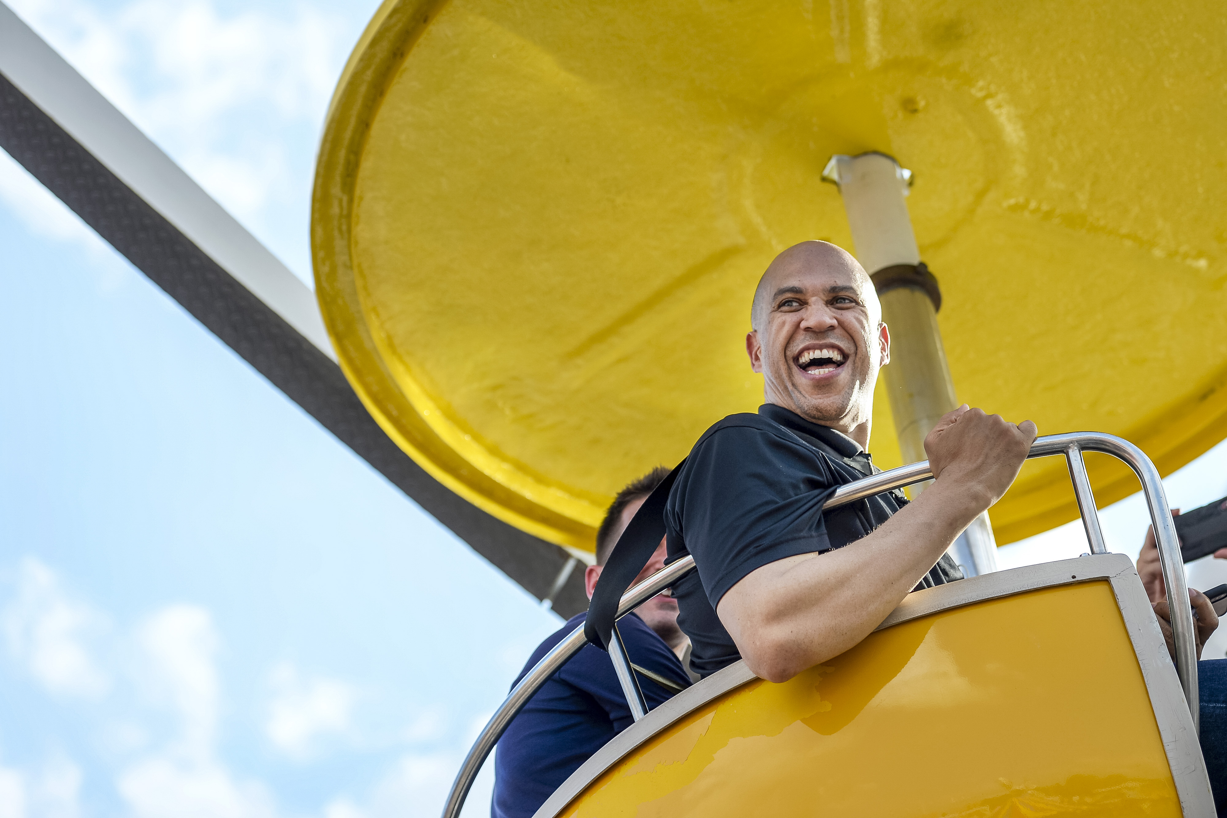 UNITED STATES - AUGUST 10: Democratic presidential candidate, Sen. Cory Booker, D-N.J., rides the ferris wheel at the Iowa State Fair on Saturday August 10, 2019. (Photo by Caroline Brehman/CQ Roll Call)