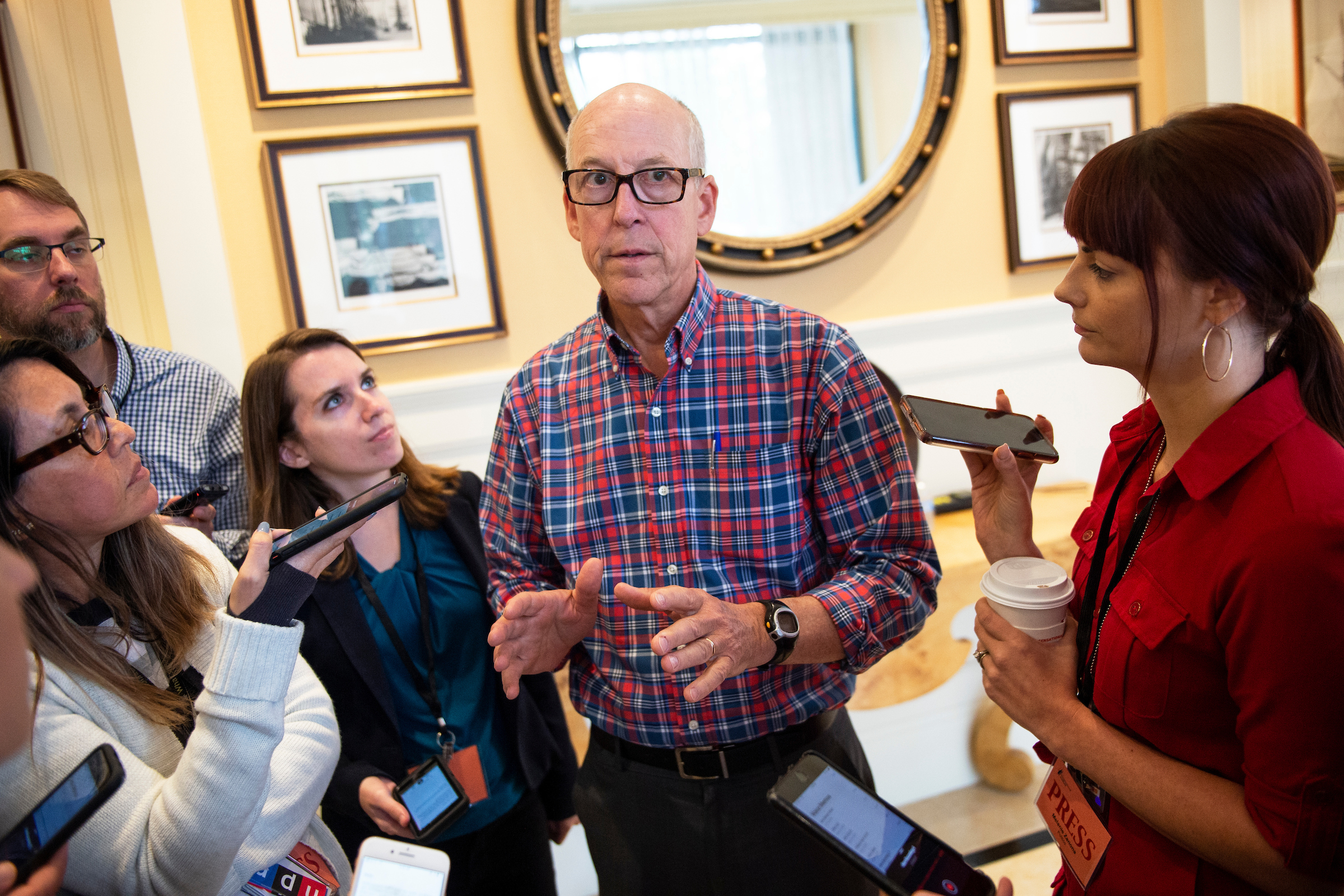 Rep. Greg Walden, R-Ore., speaks to the media at the House Republican Member Retreat in Baltimore on Friday September 13, 2019. (Photo by Caroline Brehman/CQ Roll Call)