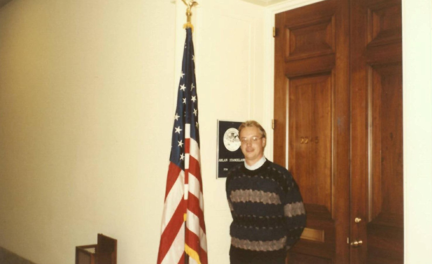 Current Rep. Jim Hagedorn stands in front of Rayburn 2245 circa 1989 during his days as a legislative assistant/Courtesy Rep. Jim Hagedorn