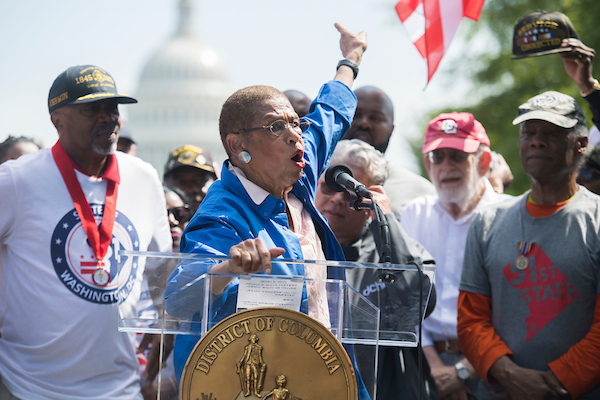 UNITED STATES - SEPTEMBER 16: Del. Eleanor Holmes Norton, D-D.C., conducts a rally on Pennsylvania Avenue, NW, with 51 military veterans ahead of this week's House Oversight and Reform Committee hearing on a bill that would make D.C. the 51st state, on Monday, September 16, 2019. (Photo By Tom Williams/CQ Roll Call)