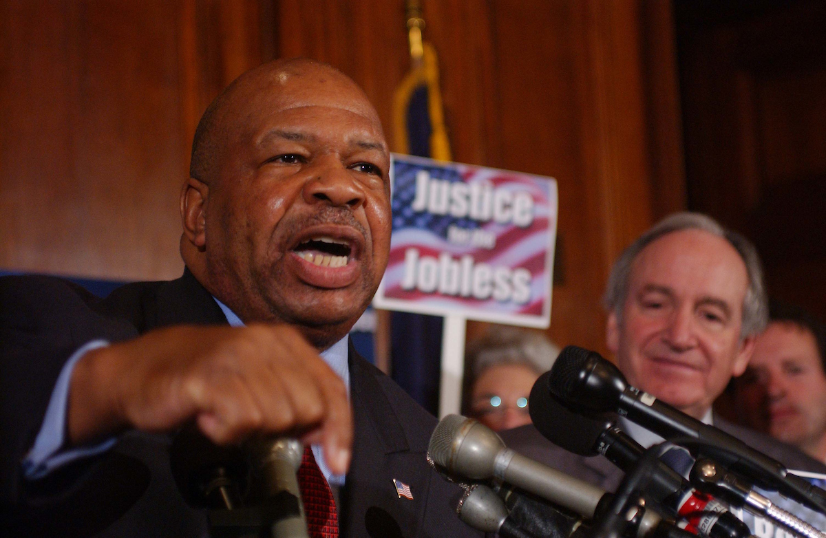 11/12/03.30-HOUR JUDICIAL NOMINATIONS DEBATE--Congressional Black Caucus Chairman Elijah Cummings, D-Md.,. and Sen. Tom Harkin, D-Iowa, at a rally in the early evening in the Mansfield Room near the Senate floor..CONGRESSIONAL QUARTERLY PHOTO BY SCOTT J. FERRELL