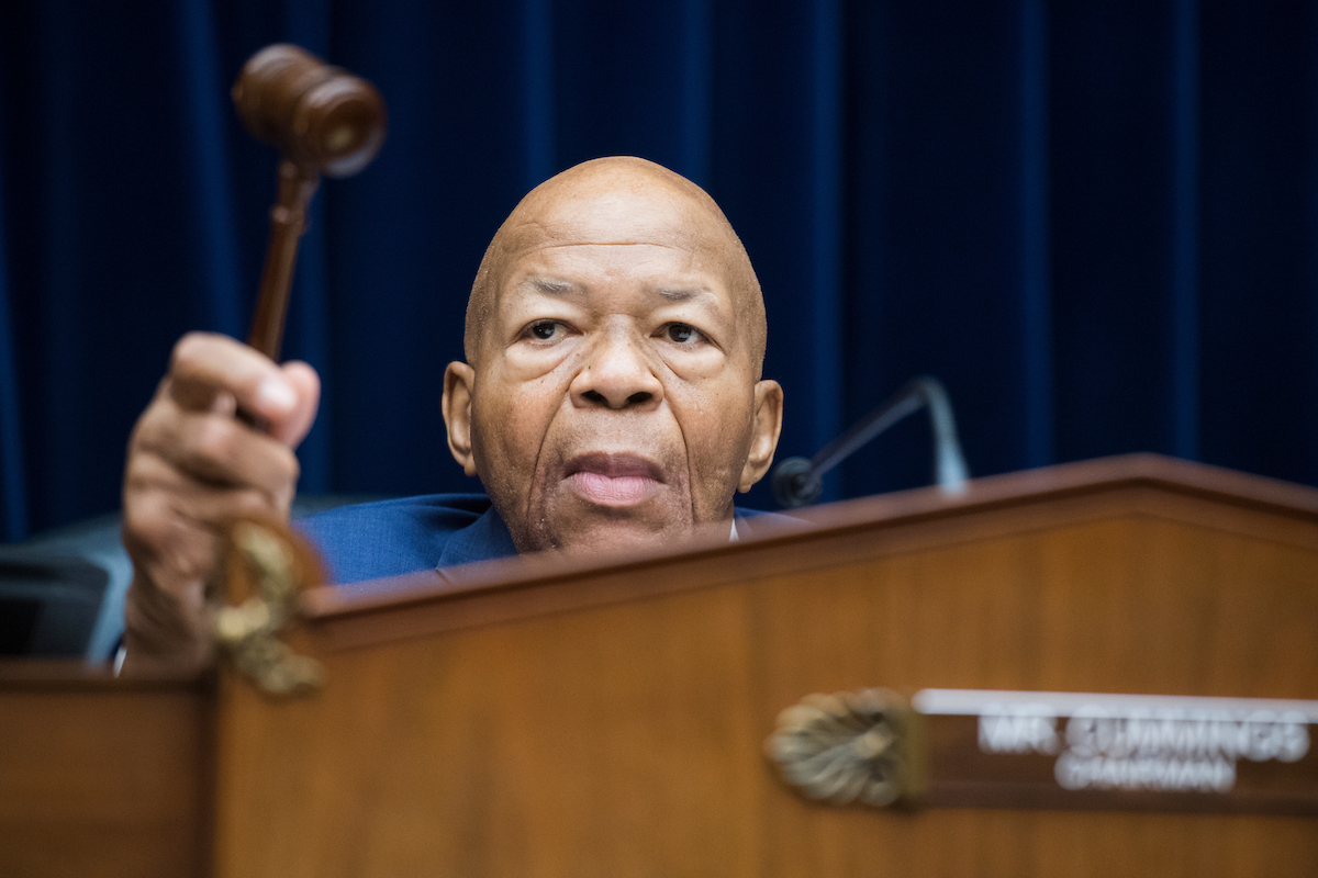 "UNITED STATES - JULY 12: Chairman Elijah Cummings, D-Md., is seen during the House Oversight and Reform Committee hearing in Rayburn Building where members of Congress testified about their trip to the border of the U.S. and Mexico on Friday, July 12, 2019. The hearing was titled ""The Trump Administration's Child Separation Policy: Substantiated Allegations of Mistreatment."" (Photo By Tom Williams/CQ Roll Call)"