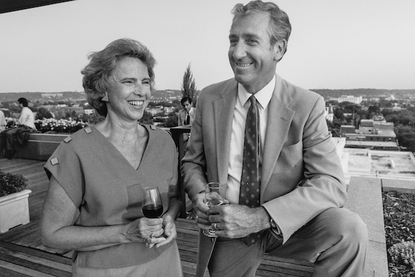 Rep. William J. Hughes, D-N.J. with wife Nancy drinking wine. (Photo by CQ Roll Call)