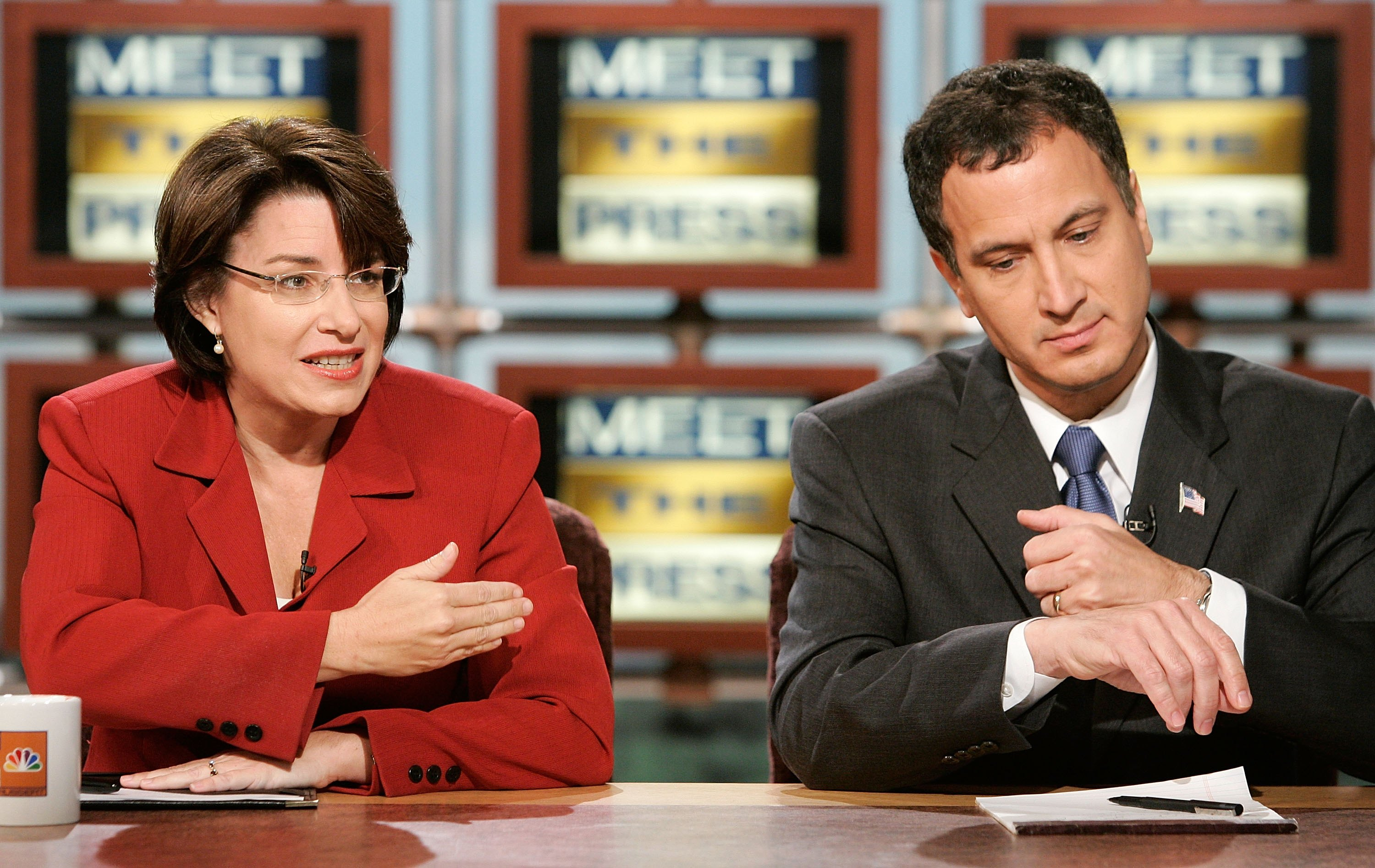 "WASHINGTON - OCTOBER 15: Democratic U.S. Senate candidate Amy Klobuchar and Republican U.S. Senate candidate Rep. Mark Kennedy (R-MN) participate in a debate on ""Meet the Press"" during a taping at the NBC studios October 15, 2006 in Washington, DC. Klobuchar and Kennedy are competing for the Senate seat vacant by retiring Sen. Mark Dayton (D-MN). (Photo by Alex Wong/Getty Images for Meet the Press)"