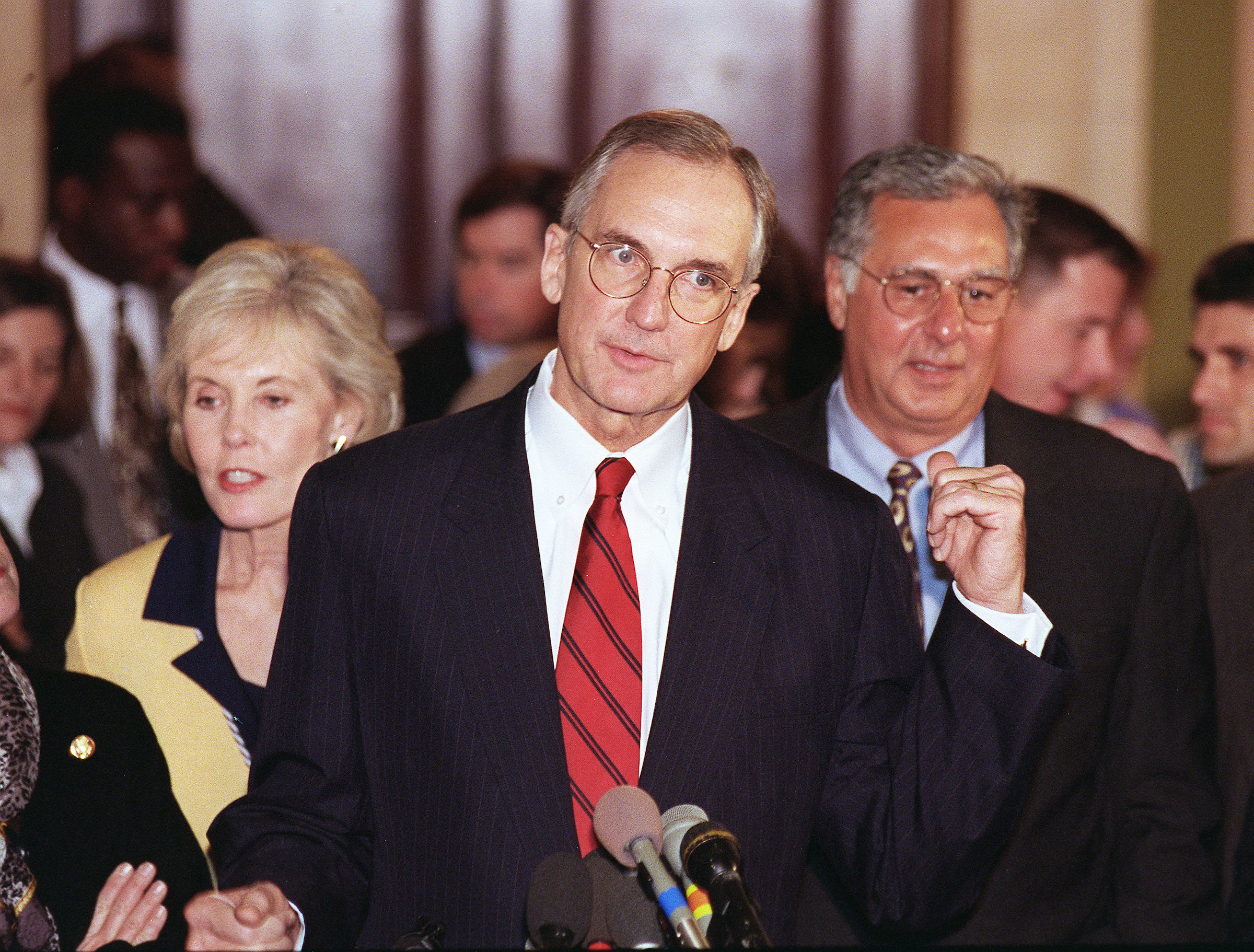 Bob Livingston,R-La., in 1998 after being chosen for House Speaker by his conference. (CQ Roll Call File Photo)