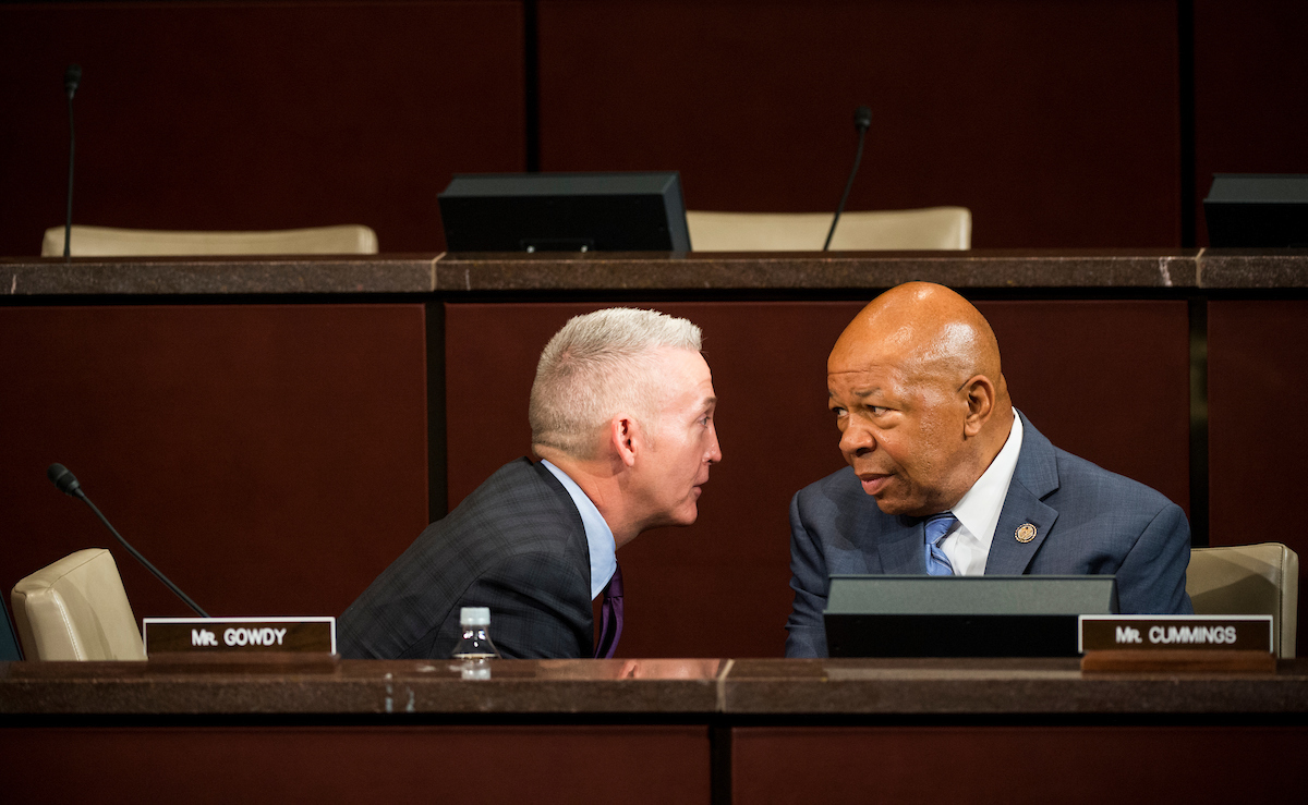 "UNITED STATES - SEPTEMBER 17: Chairman Trey Gowdy, R-S.C., speaks with ranking member Elijah Cummings, D-Md., before the start of the House Select Committee on the Events Surrounding the 2012 Terrorist Attack in Benghazi hearing on ""Implementation of the Accountability Review Board Recommendations"" on Wednesday, Sept. 17, 2014. (Photo By Bill Clark/CQ Roll Call)"