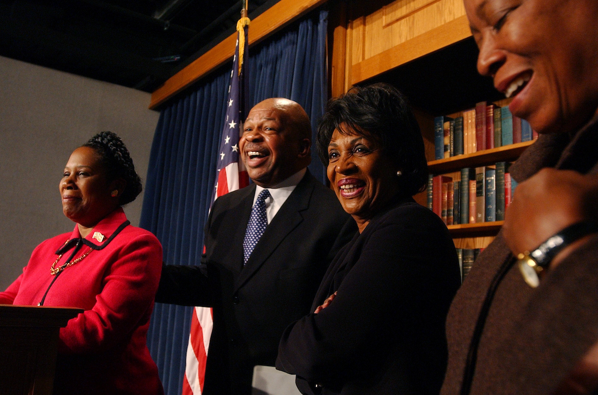 cbc7/121002 -- Reps. Shelia Jackson Lee, D-Texas, Elijah Cummings, D-Md., incoming Chairman of the Congressional Black Caucus, Maxine Waters, D-Calif., and Delegate Donna Christensen, D-VI, share a laugh at a news conference on the CBC's new leadership, Tuesday....