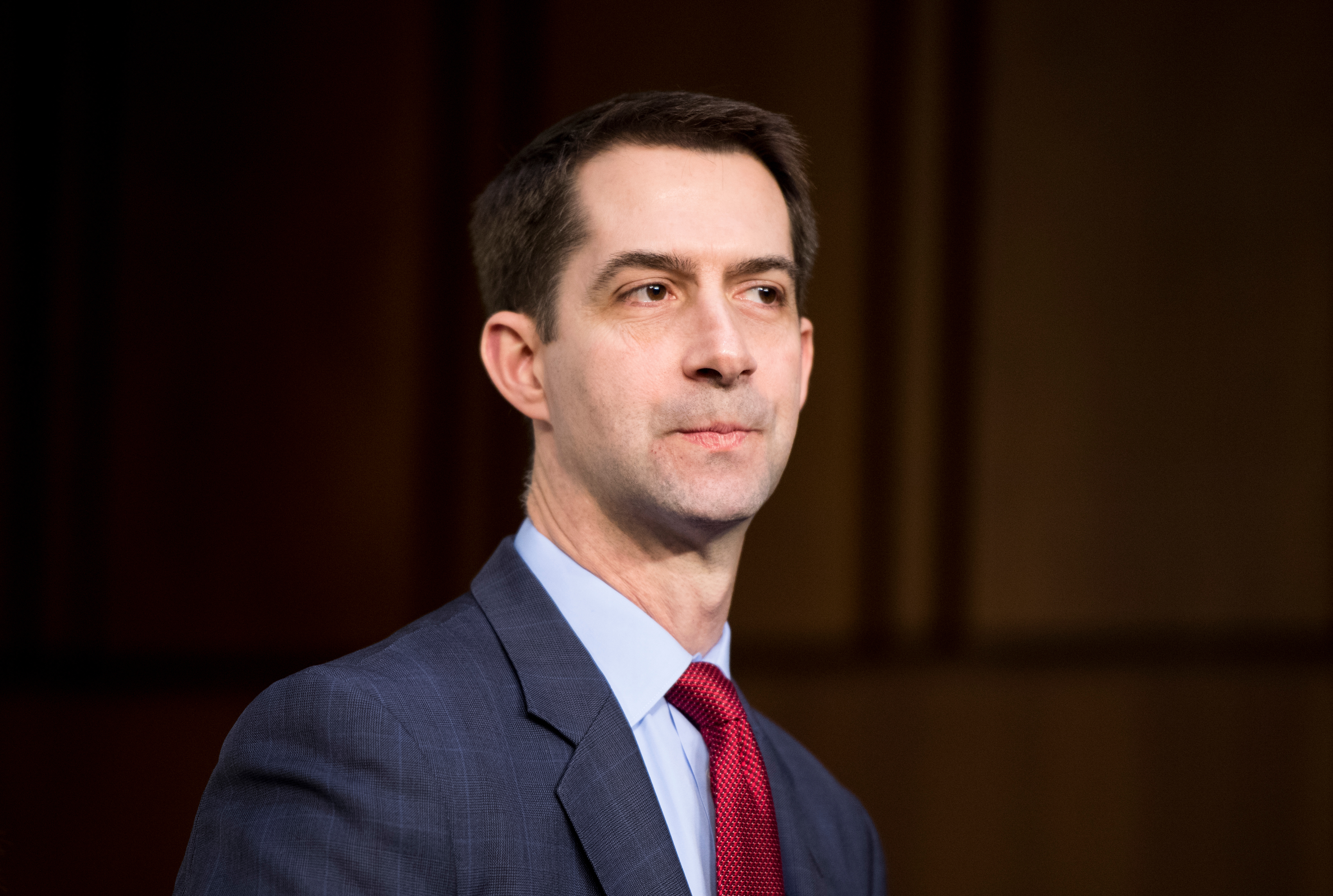 "UNITED STATES - JANUARY 29: Sen. Tom Cotton, R-Ark., arrives for the Senate Select Intelligence Committee hearing on ""Worldwide Threats"" on Tuesday, Jan. 29, 2018. (Photo By Bill Clark/CQ Roll Call)"