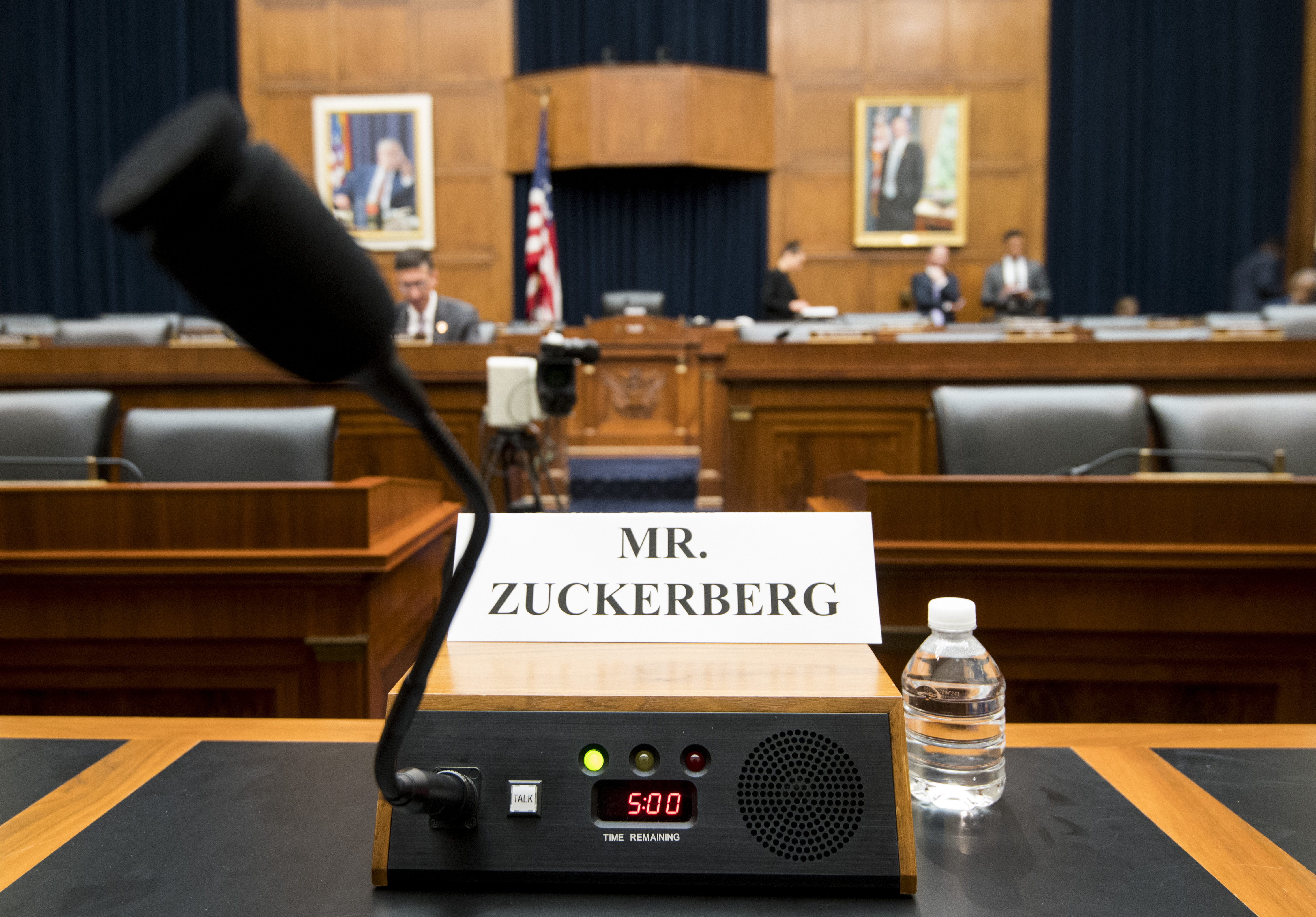 UNITED STATES - OCTOBER 23: The view Mark Zuckerberg, Chairman and Chief Executive Officer of Facebook, will have during the House Financial Services hearing on ÒAn Examination of Facebook and Its Impact on the Financial Services and Housing SectorsÓ on Wednesday, Oct. 23, 2019. (Photo By Bill Clark/CQ Roll Call)