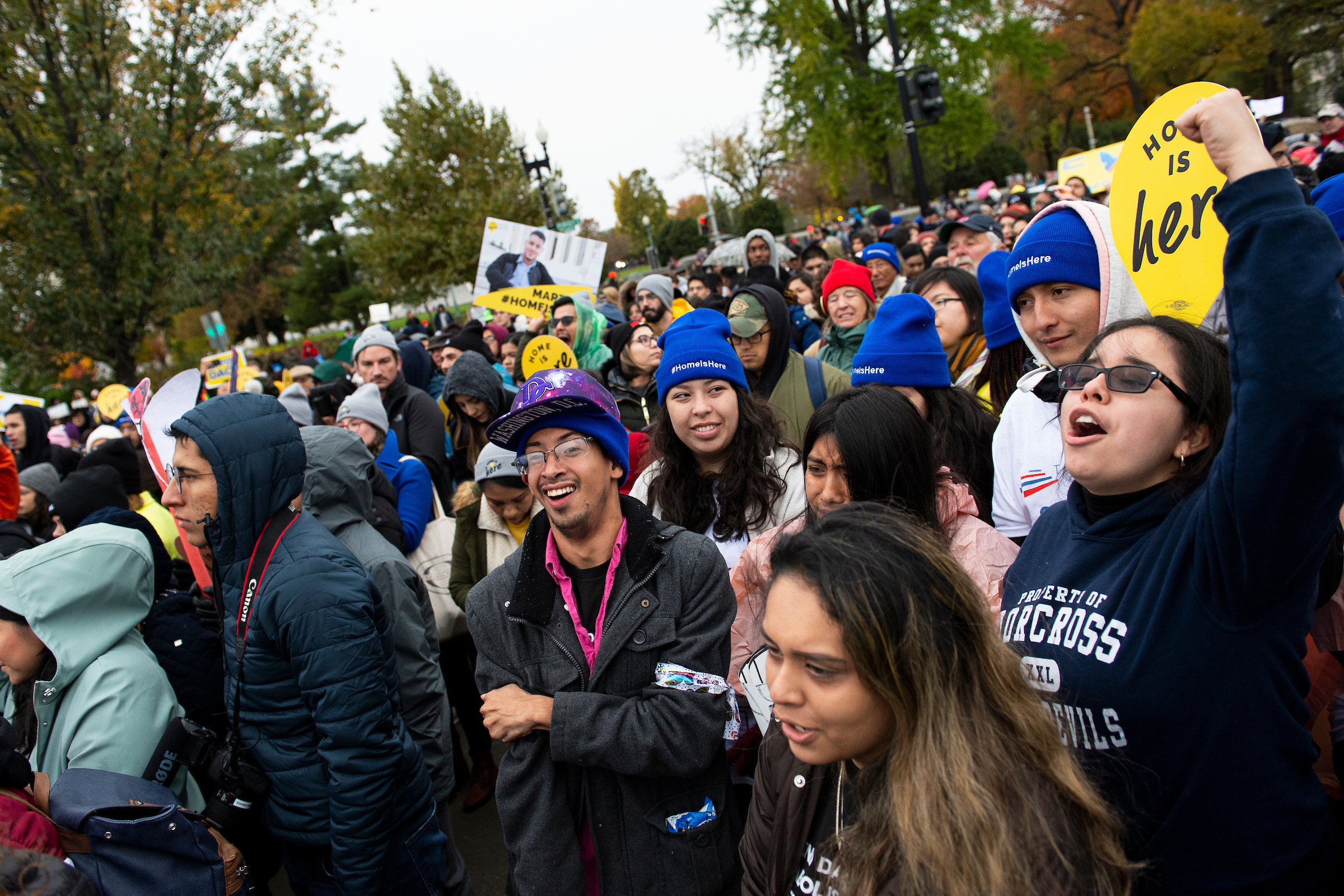 Protesters gather outside of the U.S. Supreme Court on Tuesday as the court hears arguments on the Trump administration's decision to end the Deferred Action for Childhood Arrivals program. (Caroline Brehman/CQ Roll Call)