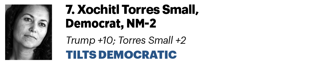 7. Xochitl Torres Small, D-N.M. Trump +10 ; Torres Small +2 Tilts Democratic