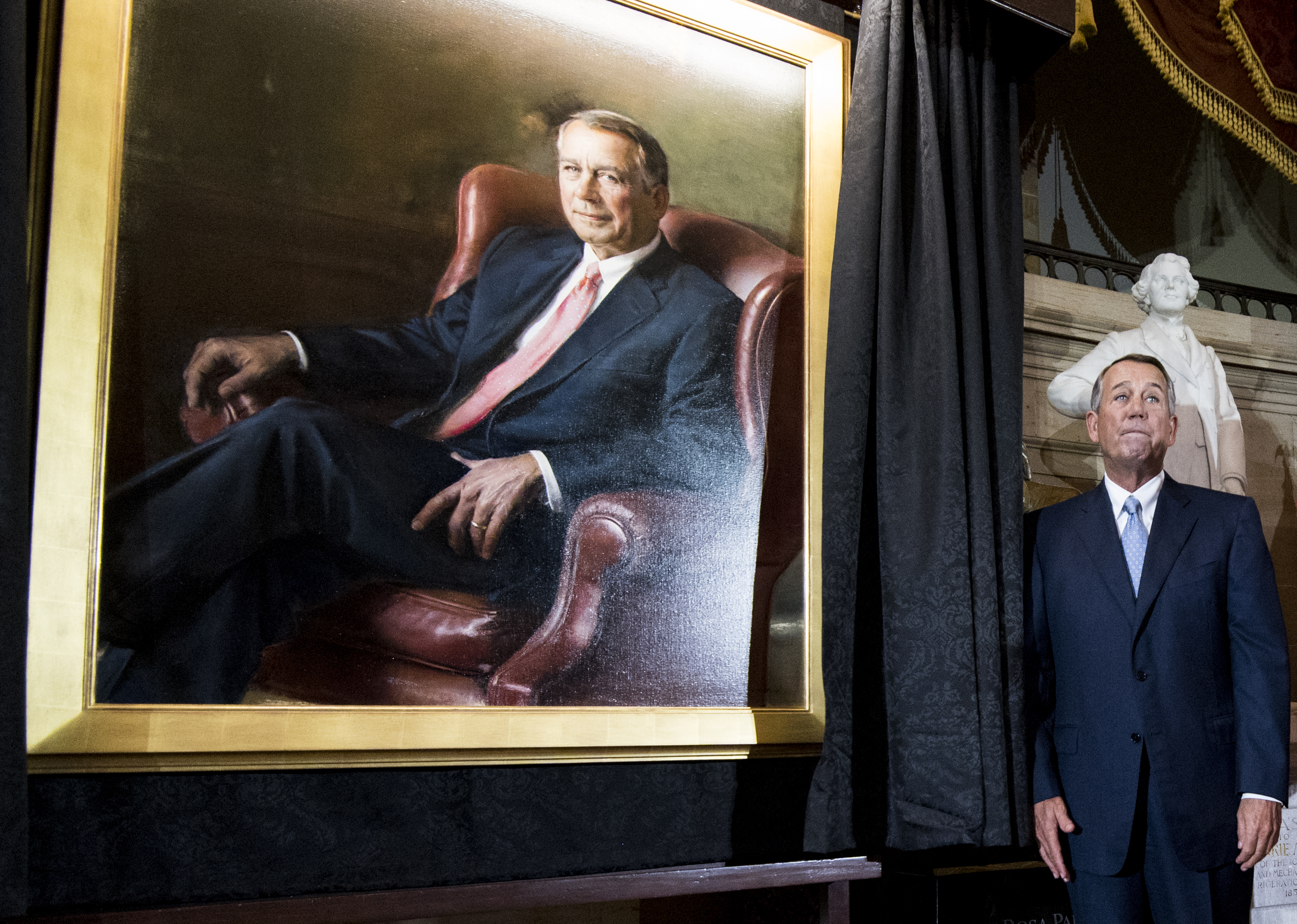 UNITED STATES - NOVEMBER 19: Former Speaker of the House John Boehner, R-Ohio, stands next to his portrait after its unveiling in Statuary Hall in the Capitol on Tuesday, Nov. 19, 2019. (Photo By Bill Clark/CQ Roll Call)