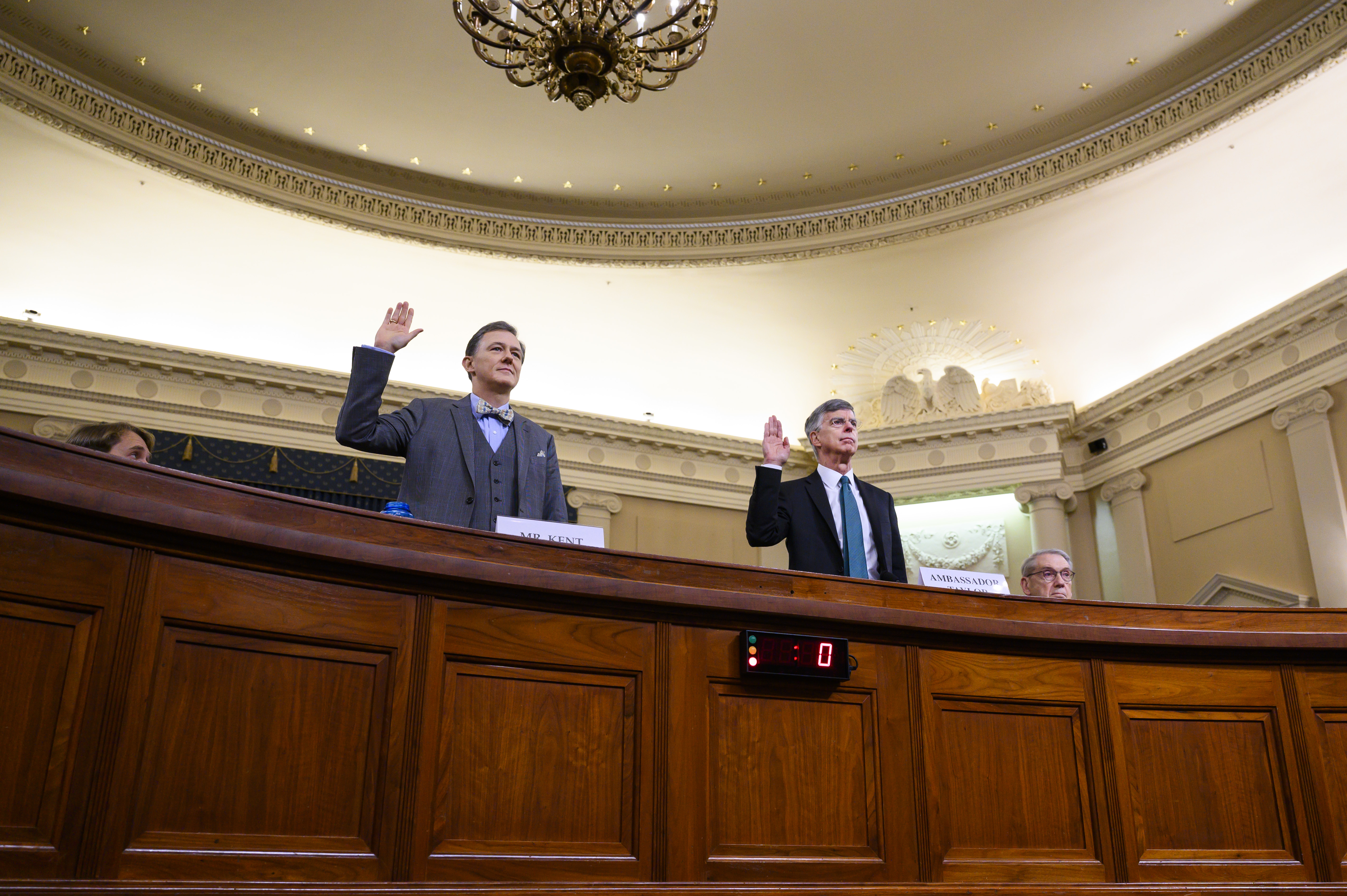 UNITED STATES - NOVEMBER 13: William Taylor, the senior U.S. diplomat in Ukraine, and George Kent, deputy assistant secretary for European and Eurasian Affairs, are sworn in to the House Intelligence Committee hearing on the impeachment inquiry of President Trump in Longworth Building on Wednesday, November 13, 2019. (Photo By Tom Williams/CQ Roll Call)