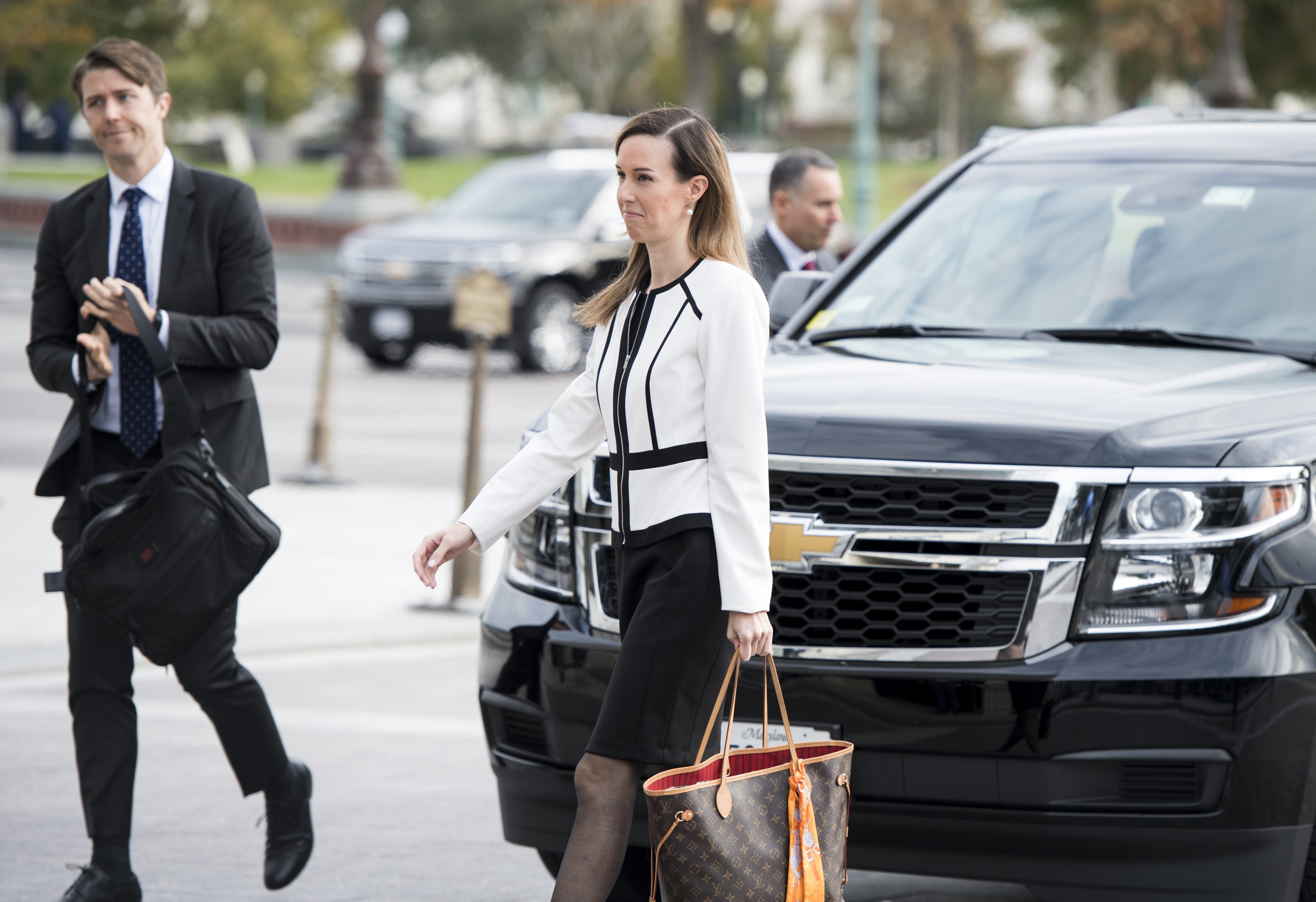 UNITED STATES - NOVEMBER 7: Jennifer Williams, a special advisor to Vice President Mike Pence for Europe and Russia, arrives for a closed door meeting to testify as part of the House impeachment inquiry into President Donald Trump on Capitol Hill on Thursday Nov. 7, 2019.(Photo By Bill Clark/CQ Roll Call)