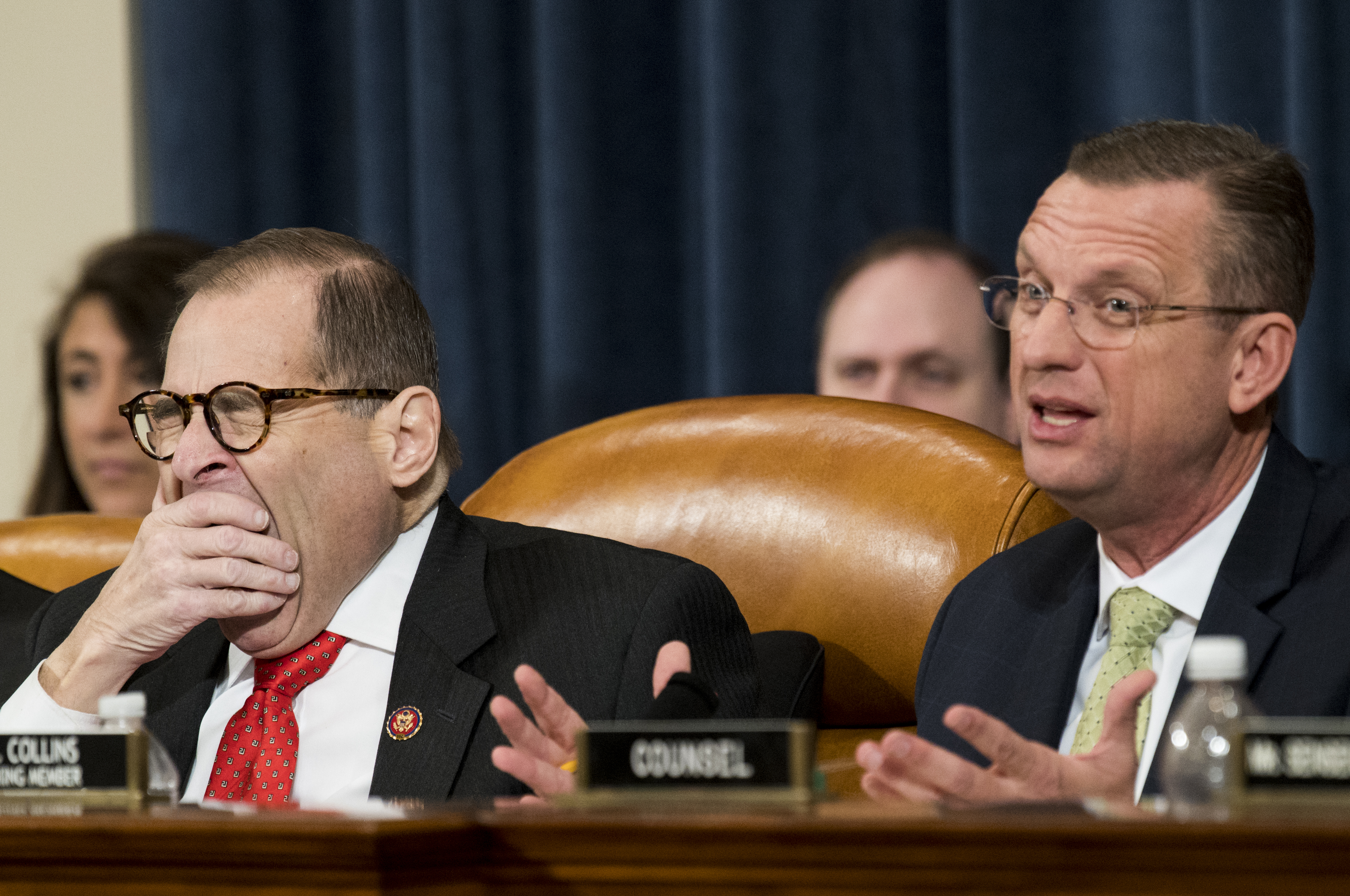 UNITED STATES - DECEMBER 12: Chairman Jerrold Nadler, D-N.Y., yawns as ranking member Doug gCollins, R-Ga., speaks during the House Judiciary Committee markup of H.Res.755, Articles of Impeachment Against President Donald J. Trump on Thursday, Dec. 12, 2019. (Photo By Bill Clark/CQ Roll Call)