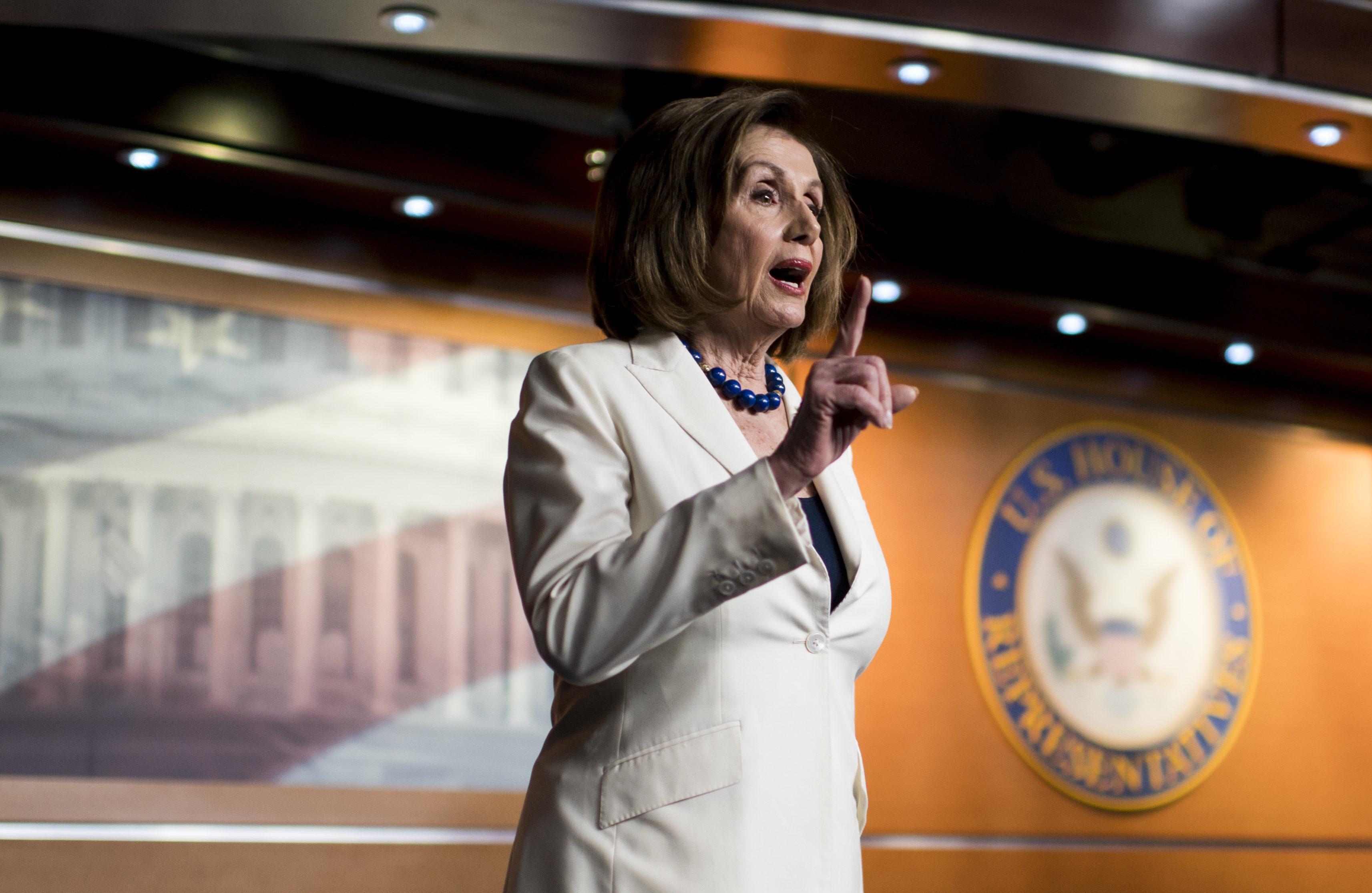 UNITED STATES - DECEMBER 5: As she ends her weekly news conference Speaker of the House Nancy Pelosi, D-Calif., angrily reacts after a reporter asks if she hates the Presidsent on Thursday, Dec. 5, 2019. (Photo By Bill Clark/CQ Roll Call)