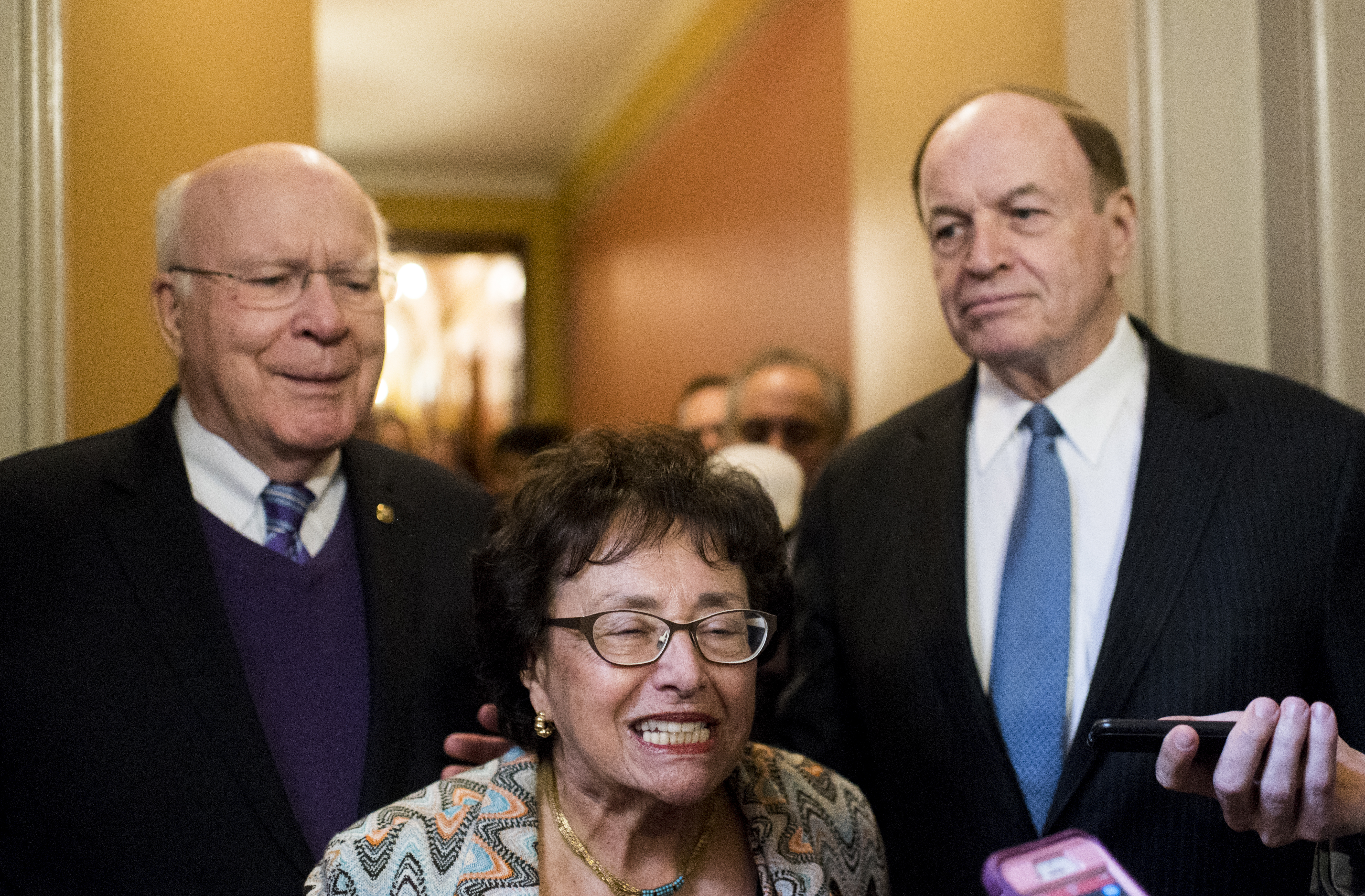 UNITED STATES - DECEMBER 12: From left, Sen. Patrick Leahy, D-Vt., Rep. Nita Lowey, D-N.Y., Sen. Richard Shelby, R-Ala., and Rep. Kay Granger, R-Texas, (not pictured) emerge from a meeting in the Capitol nto announce a spending deal on Thursday, Dec. 12, 2019. (Photo By Bill Clark/CQ Roll Call)