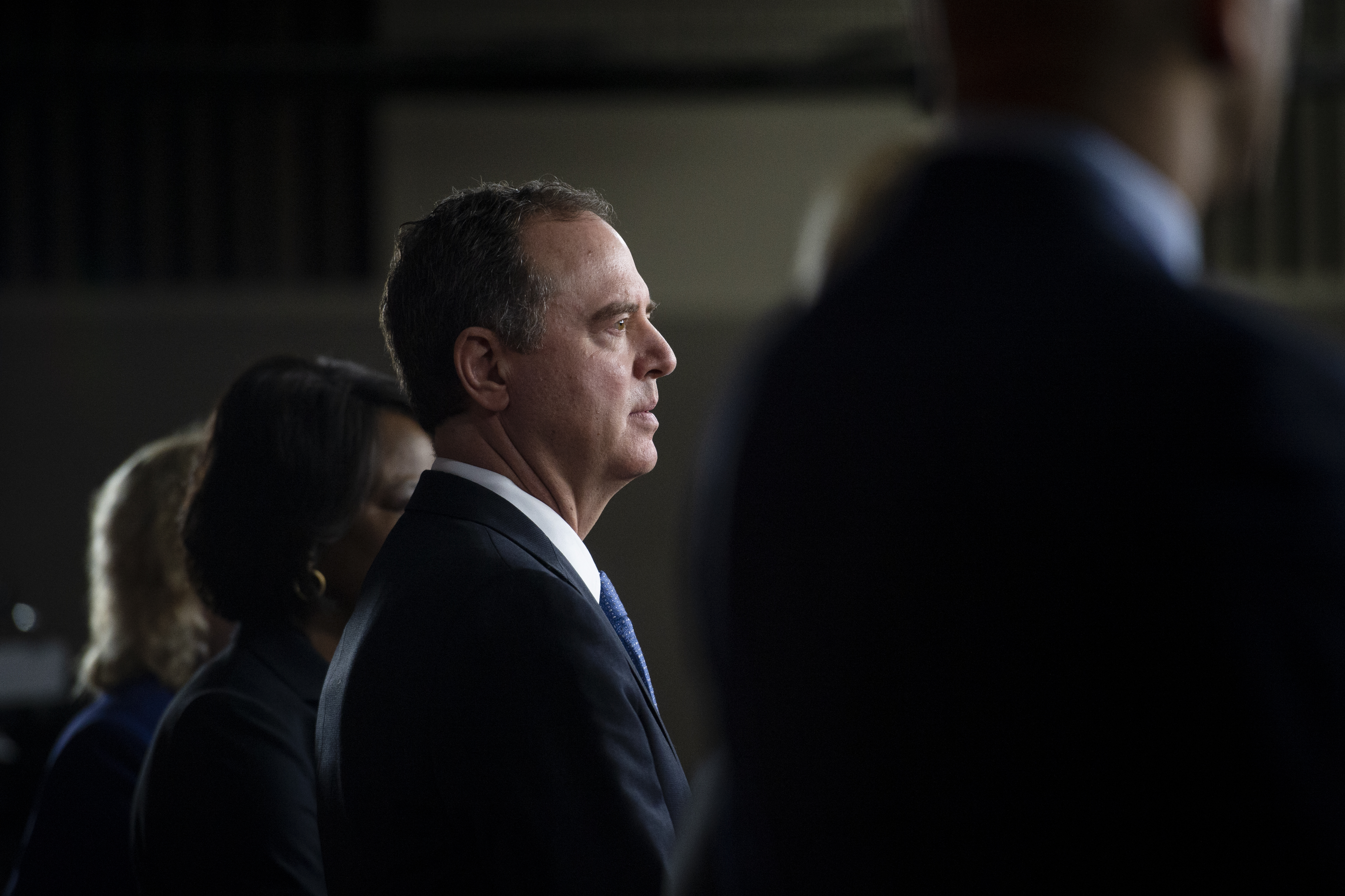UNITED STATES - JANUARY 15: Rep. Adam Schiff, D-Calif., Chairman of the House Intelligence Committee, listens as Speaker of the House Nancy Pelosi, D-Calif., speaks during a news conference to announce impeachment managers on Capitol Hill on Wednesday, Jan. 15, 2020. (Photo by Caroline Brehman/CQ Roll Call)