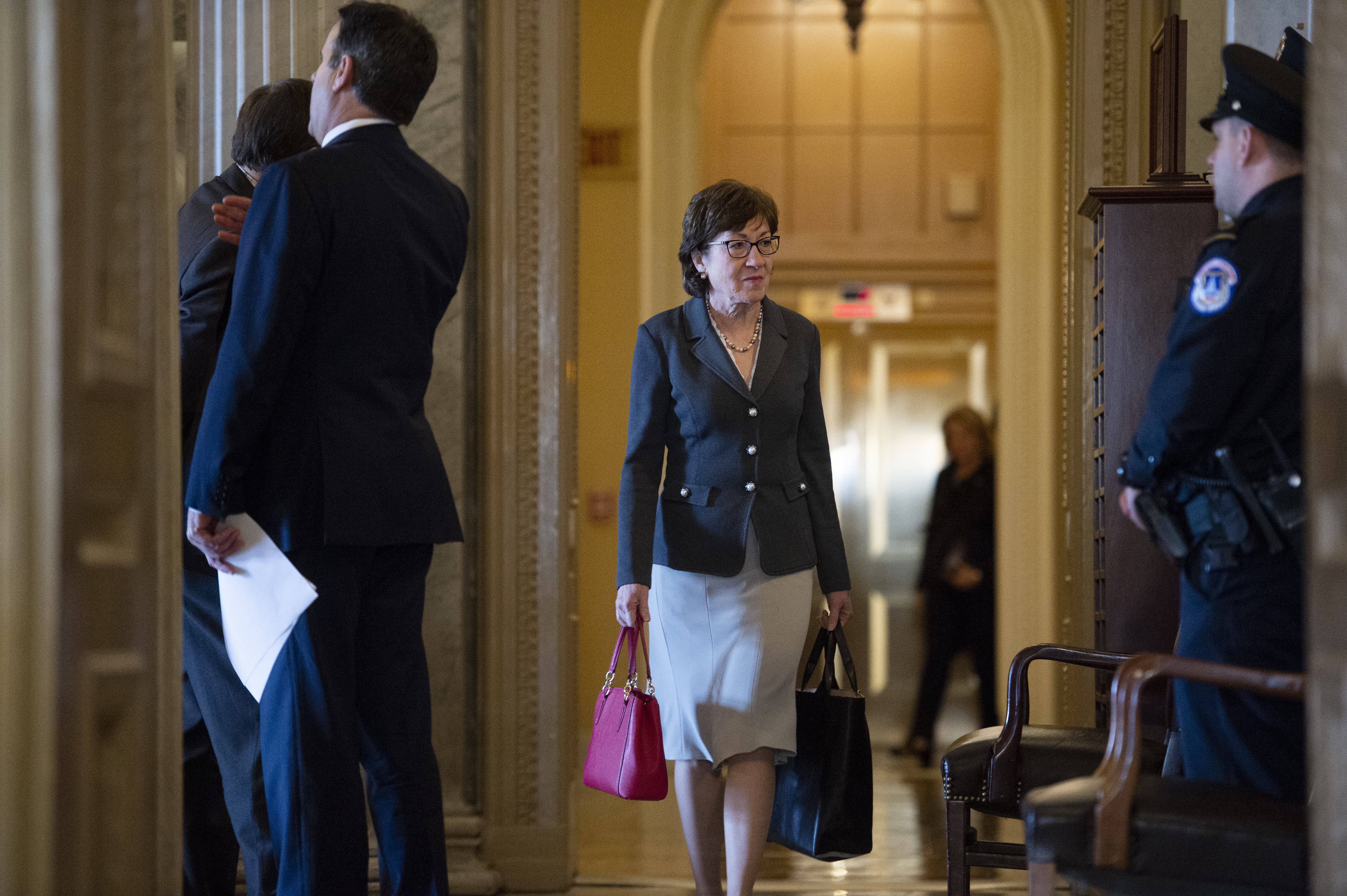 UNITED STATES - JANUARY 30: Sen. Susan Collins, R-Maine, arrives for the continuation of the Senate Impeachment Trial of President Donald Trump on Thursday, Jan. 30, 2020. (Photo by Caroline Brehman/CQ Roll Call)