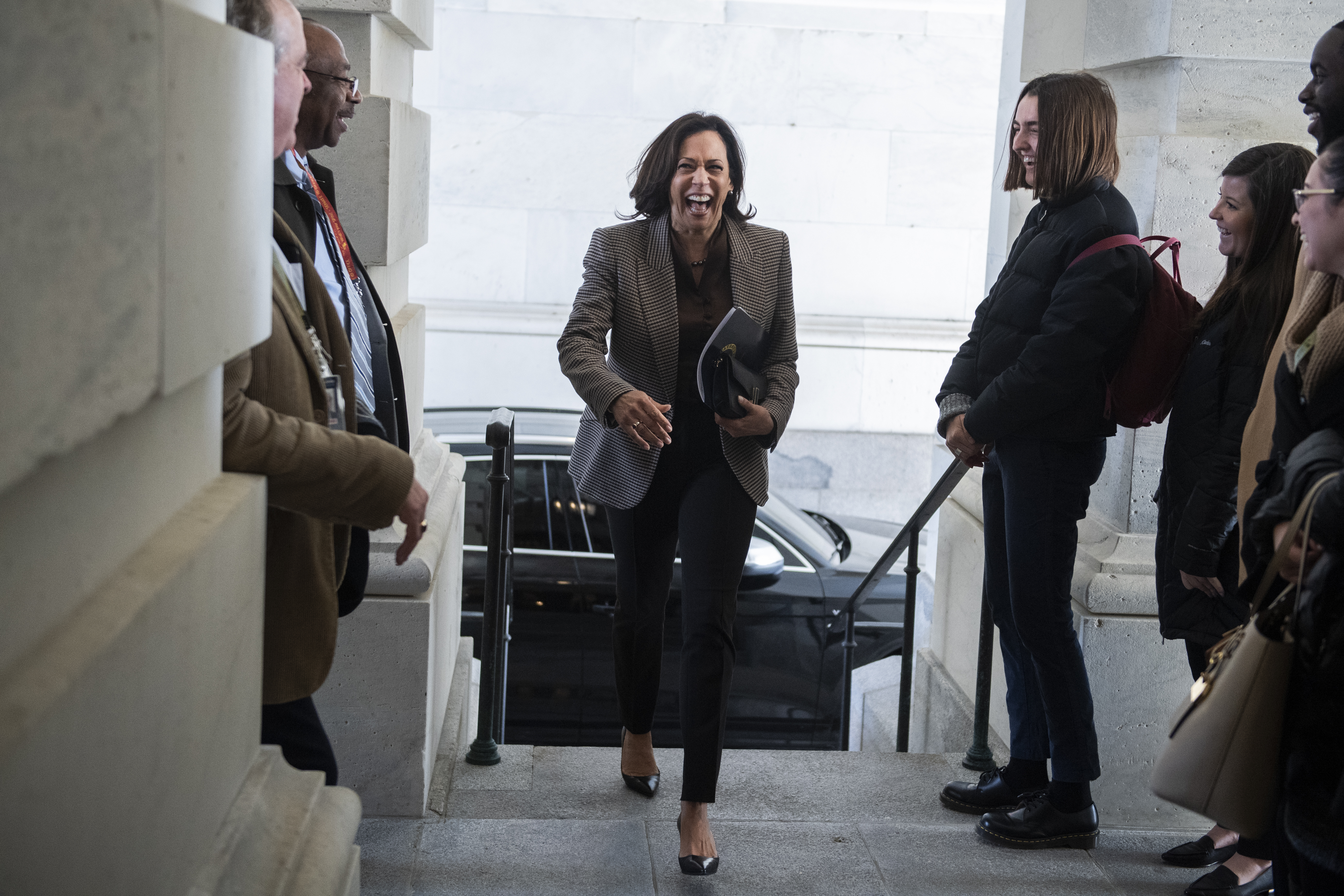 UNITED STATES - JANUARY 29: Sen. Kamala Harris, D-Calif., arrives to the Senate carriage entrance of the Capitol before the continuation of the impeachment trial of President Donald Trump on Wednesday, January 29, 2020. (Photo By Tom Williams/CQ Roll Call)