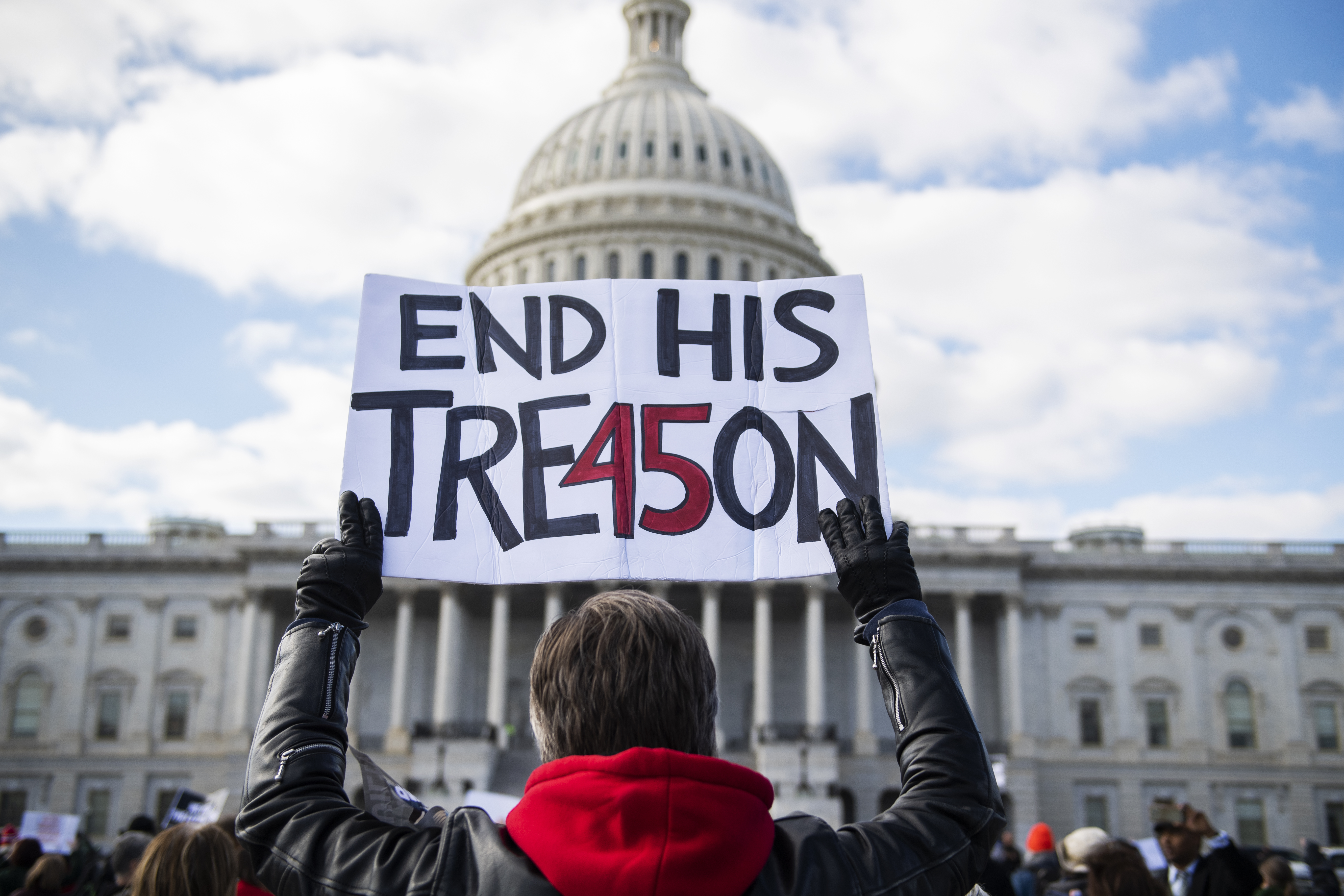UNITED STATES - JANUARY 29: Demonstrators calling for witnesses in the impeachment trial of President Donald Trump, assemble on the East Front of the Capitol on Wednesday, January 29, 2020. (Photo By Tom Williams/CQ Roll Call)