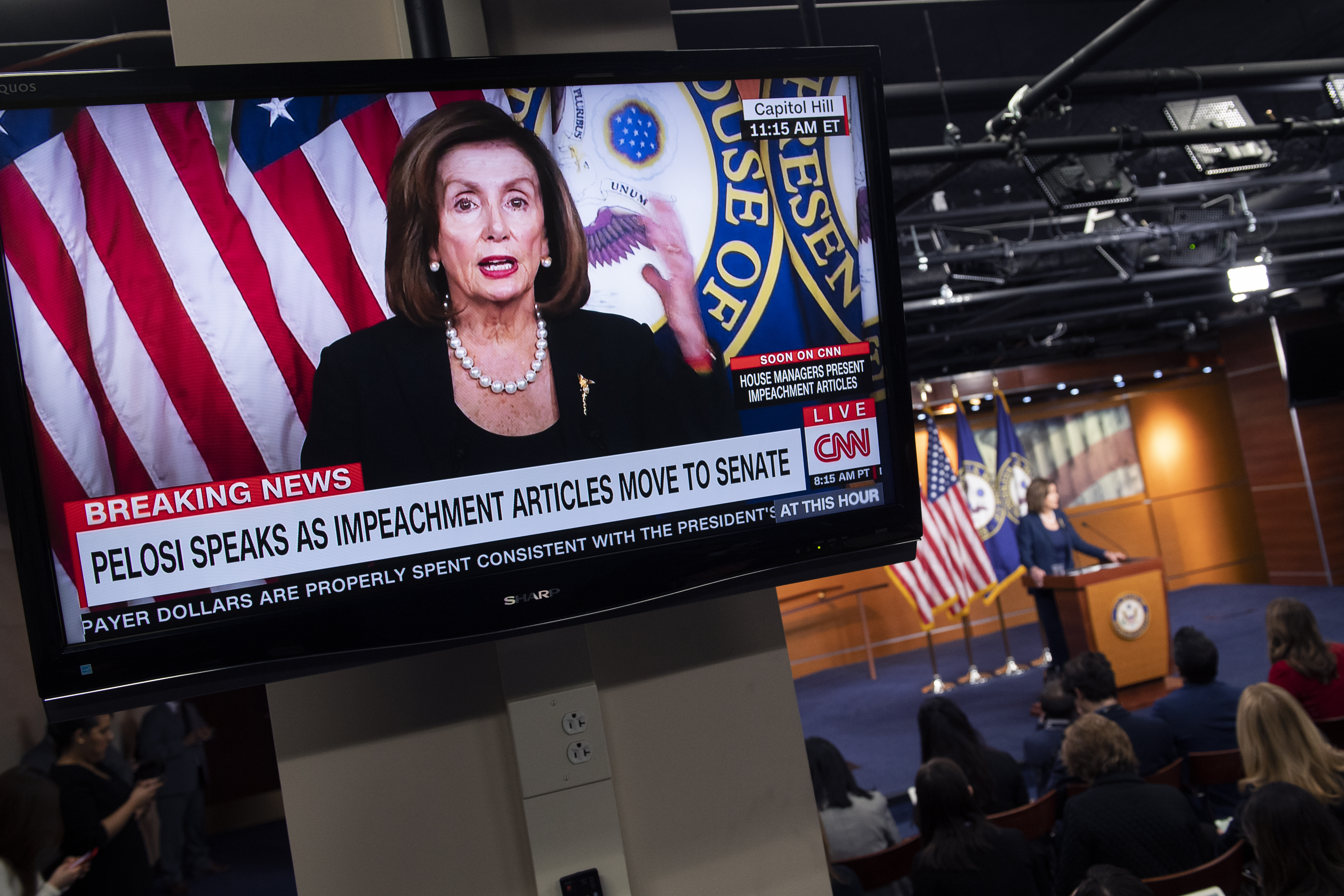 UNITED STATES - JANUARY 16: Speaker of the House Nancy Pelosi, D-Calif., conducts her weekly news conference in the Capitol Visitor Center on Thursday, January 16, 2020. (Photo By Tom Williams/CQ Roll Call)
