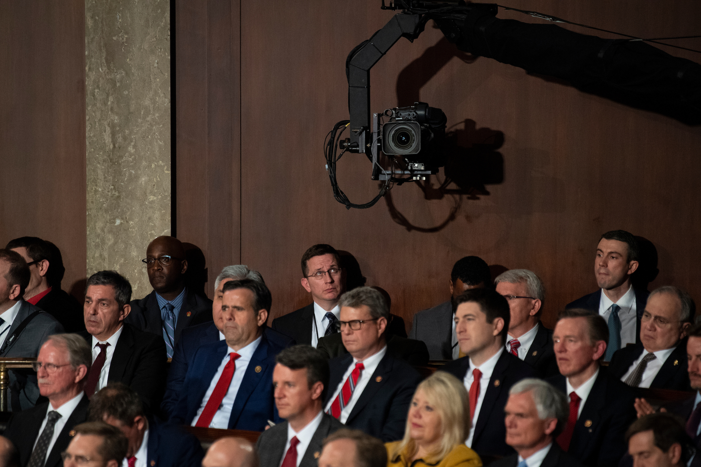 UNITED STATES - FEBRUARY 4: A staffer looks up at a boom camera as President Donald Trump delivers his State of the Union Address to a joint session of Congress in the Capitol on Tuesday, Feb. 4, 2020. (Photo by Caroline Brehman/CQ Roll Call)