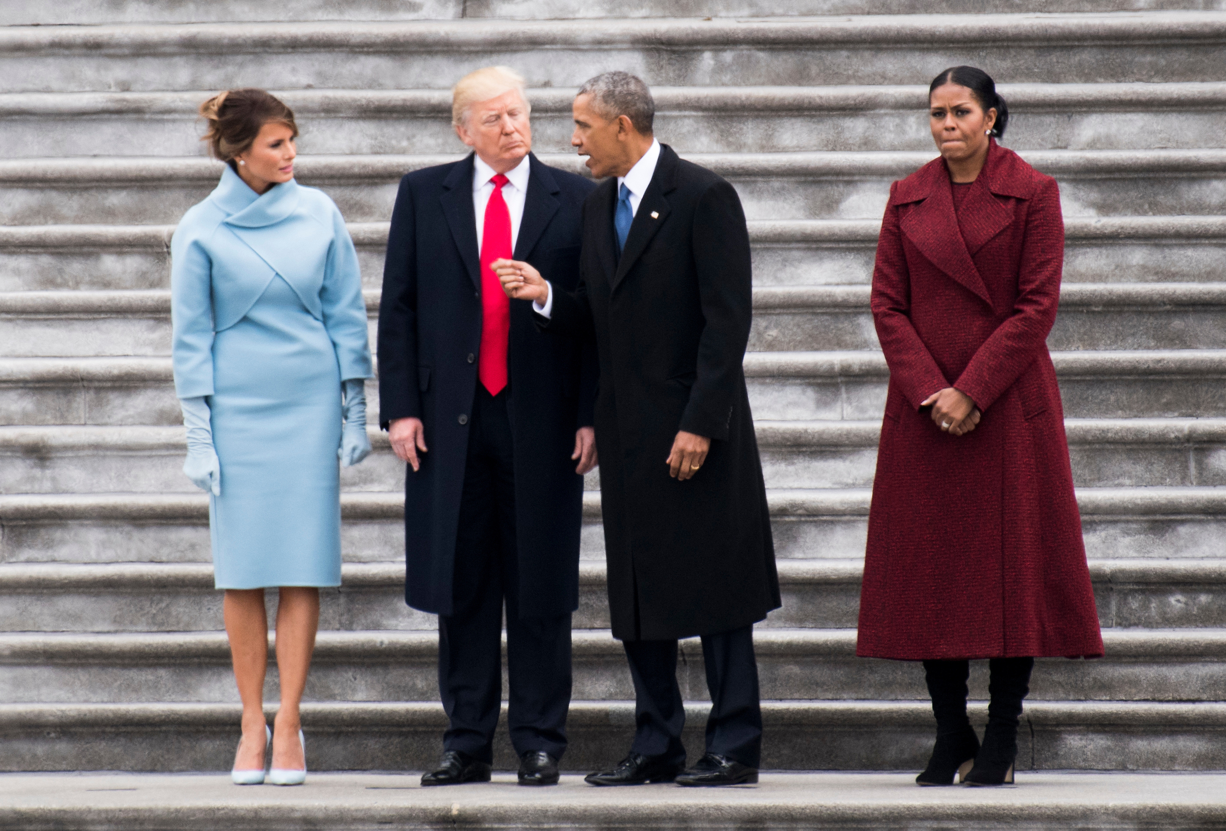 From left, First Lady Melania Trump, President Donald Trump, former President Barack Obama, and former First Lady Michelle Obama talk on the steps of the U.S. Capitol as the Obamas prepare to leave Washington following the swearing in of Donald Trump as the 45th President of the United States on Friday, Jan. 20, 2017.(Photo By Bill Clark/CQ Roll Call)