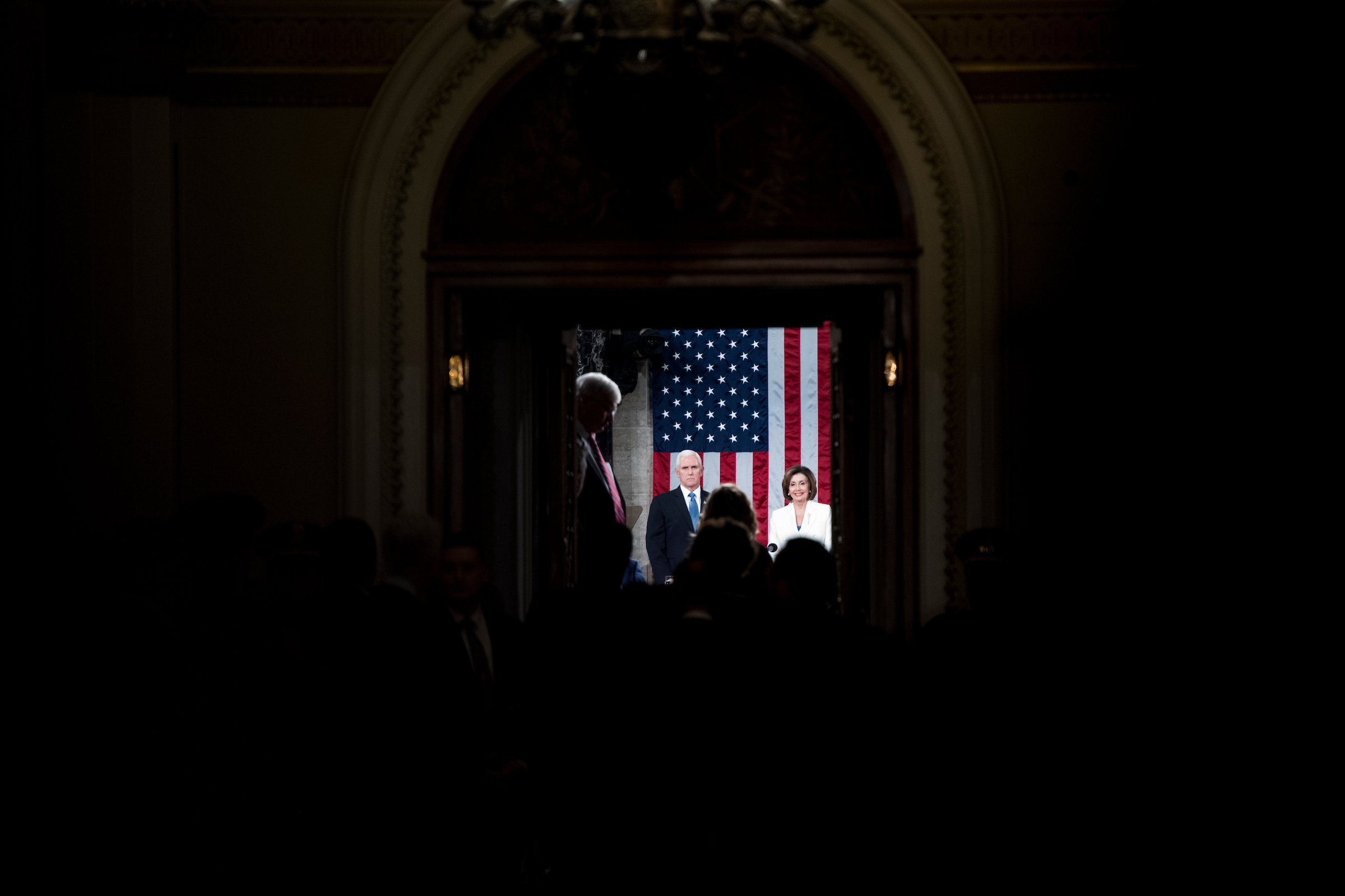 UNITED STATES - FEBRUARY 04: Vice President Mike Pence and Speaker of the House Nancy Pelosi, D-Calif., wait for President Donald Trump to arrive in the House chamber before the start of Trump's State of the Union address on Tuesday, February 4, 2020. (Photo By Bill Clark/CQ Roll Call)