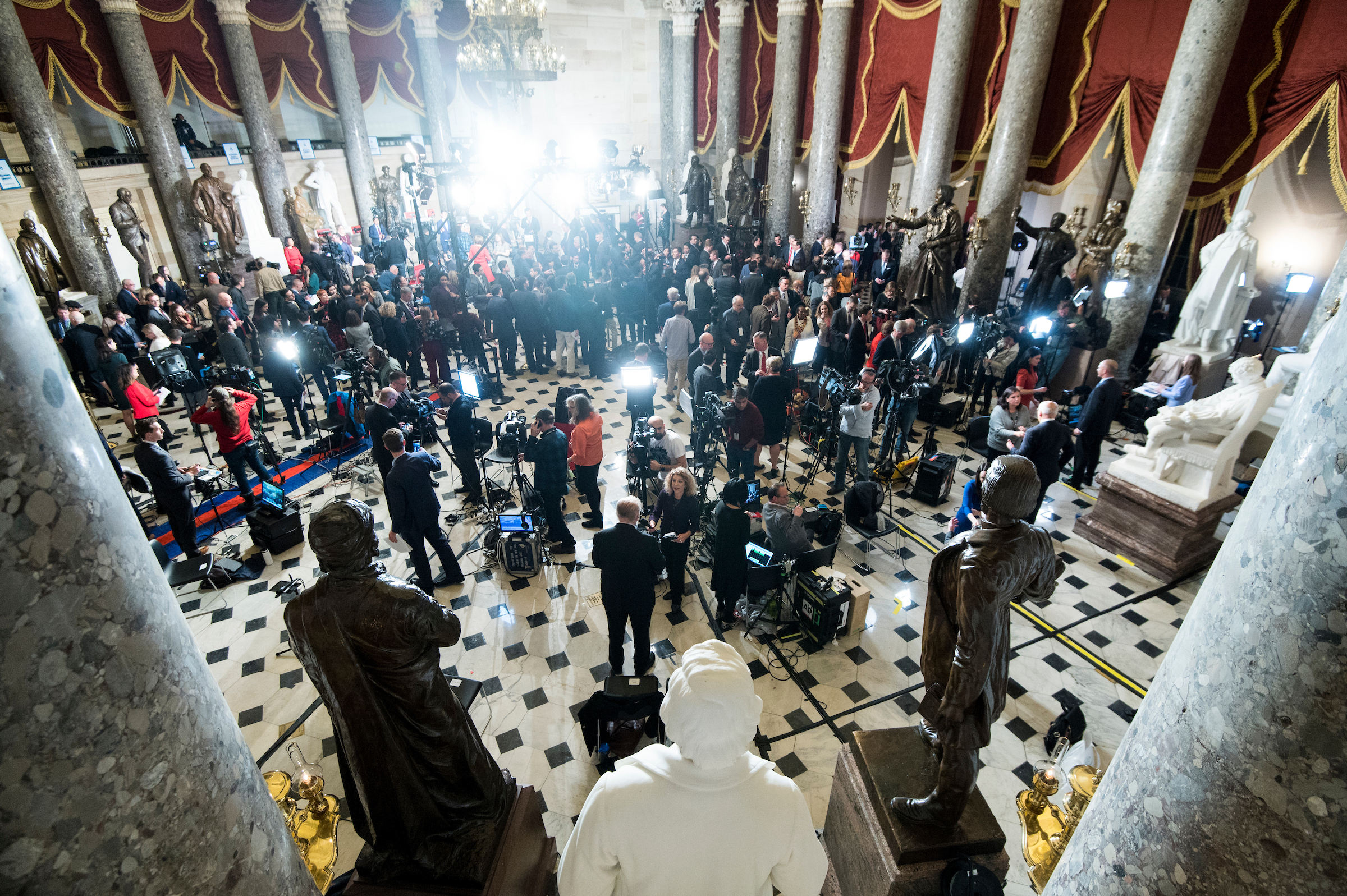 UNITED STATES - FEBRUARY 04: TV news outlets conduct interviews with lawmakers in Statuary Hall following cameras Trump's State of the Union address on Tuesday, February 4, 2020. (Photo By Bill Clark/CQ Roll Call)