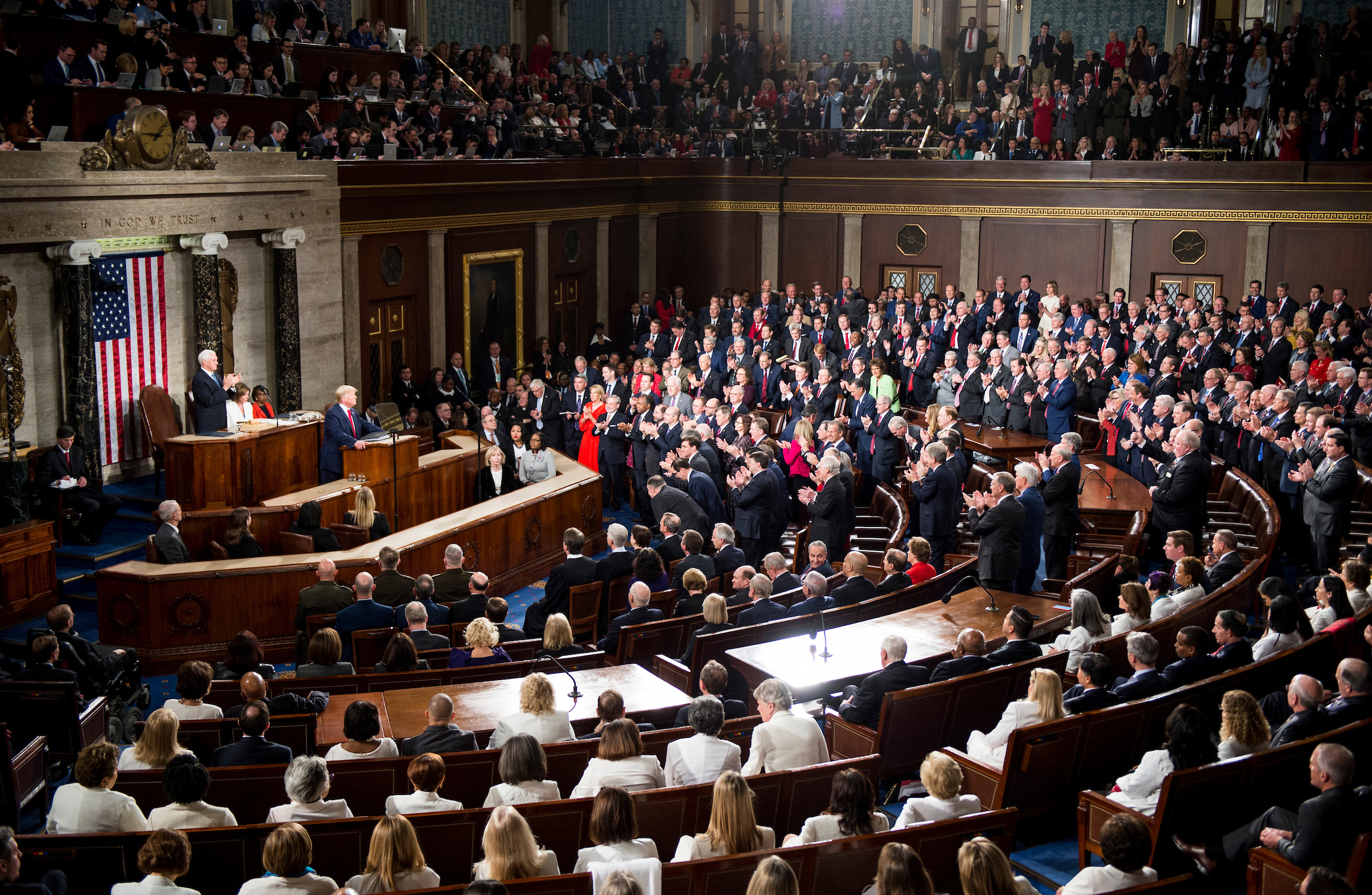 UNITED STATES - FEBRUARY 04: President Donald Trump deliver his State of the Union address to a joint session of Congress on Tuesday, February 4, 2020. (Photo by Caroline Brehman/CQ Roll Call)