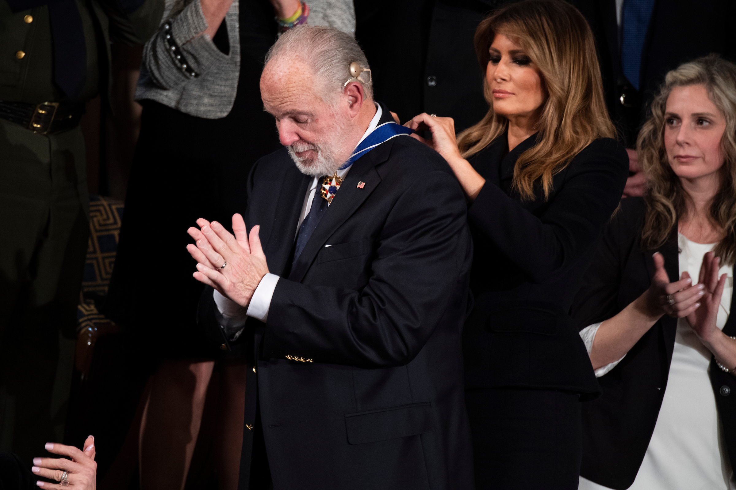 UNITED STATES - FEBRUARY 04: First Lady Melania Trump awards Rush Limbaugh the Presidential Medal of Freedom during President Donald Trump's State of the Union address in the House Chamber on Tuesday, February 4, 2020. (Photo By Tom Williams/CQ Roll Call)