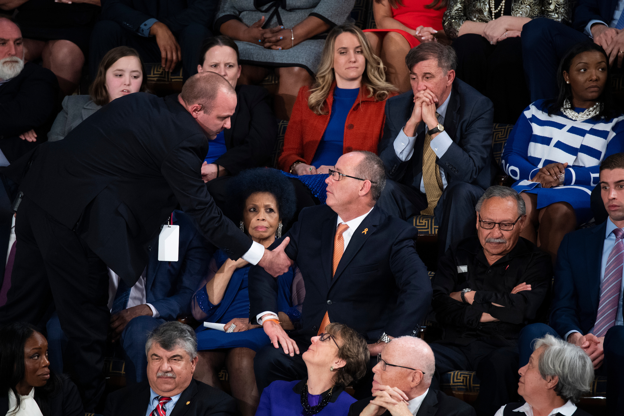 UNITED STATES - FEBRUARY 04: Fred Guttenberg, whose daughter Jamie was killed in the Parkland school shooting, is removed after yelling during President Donald Trump's State of the Union address in the House Chamber on Tuesday, February 4, 2020. (Photo By Tom Williams/CQ Roll Call)
