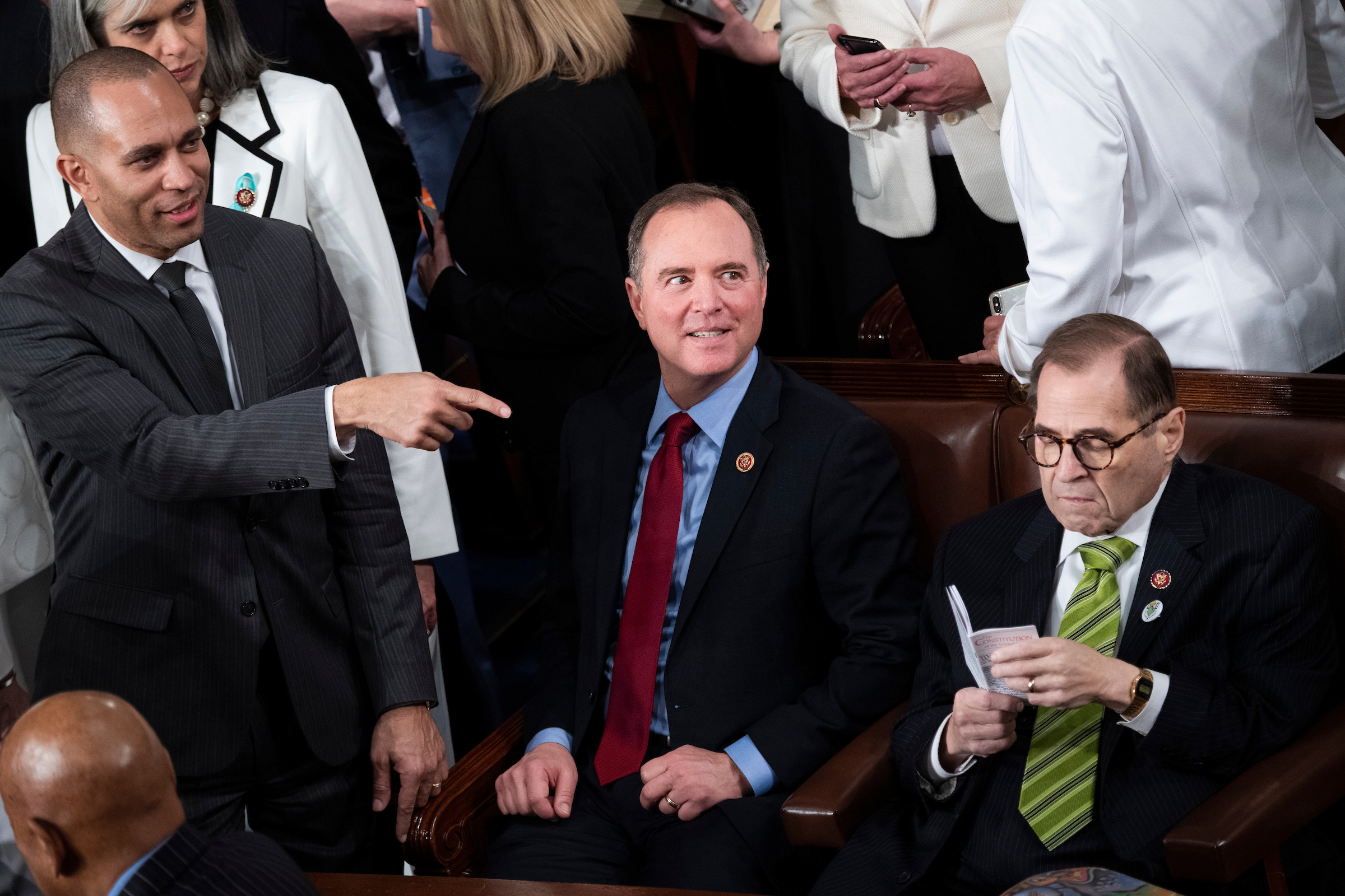UNITED STATES - FEBRUARY 04: Impeachment managers from left, Reps. Hakeem Jeffries, D-N.Y., Adam Schiff, D-Calif., and Jerold Nadler, D-N.Y., are seen before President Donald Trump's State of the Union address in the House Chamber on Tuesday, February 4, 2020. (Photo By Tom Williams/CQ Roll Call)